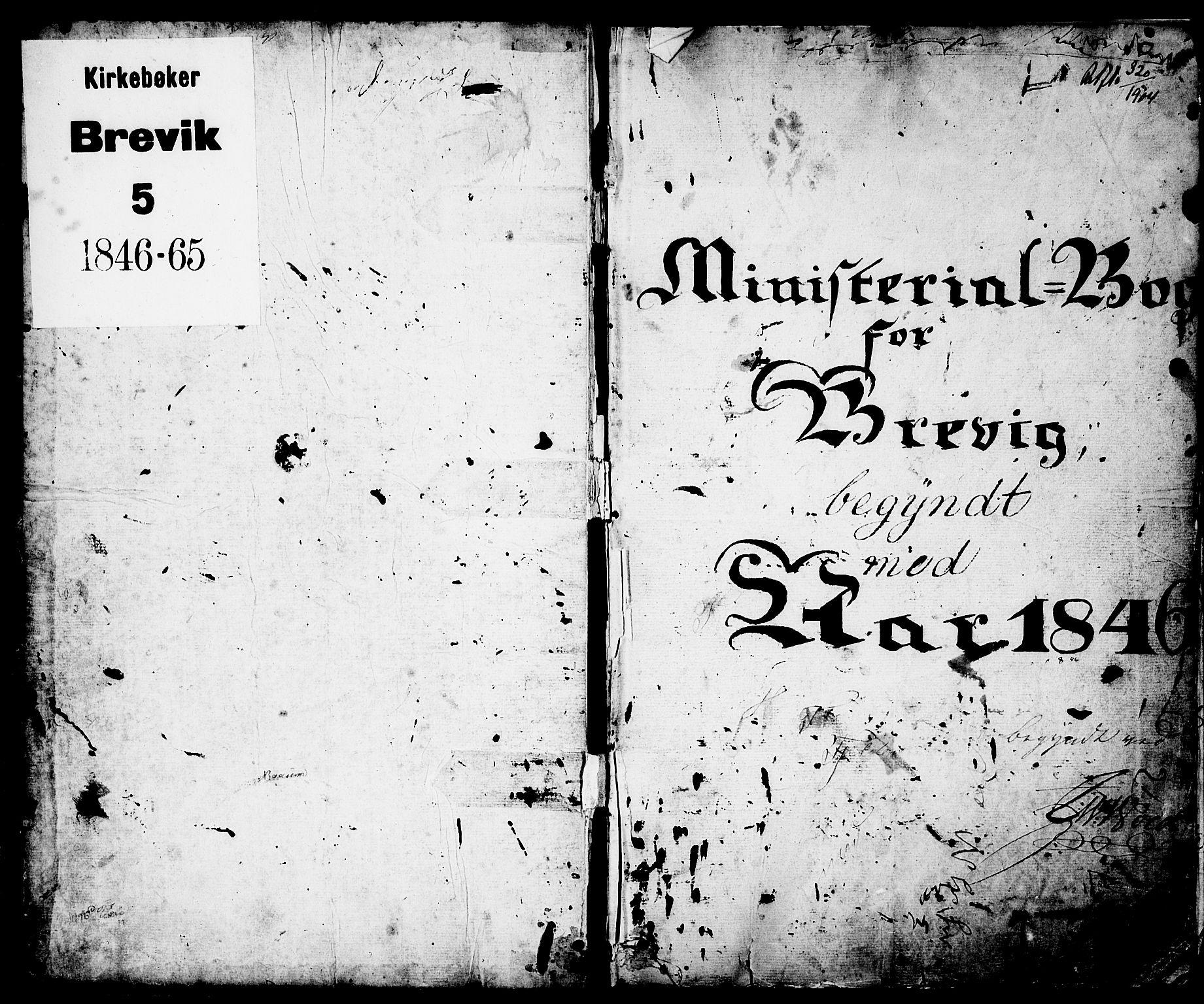SAKO, Brevik kirkebøker, G/Ga/L0002: Klokkerbok nr. 2, 1846-1865, s. 1
