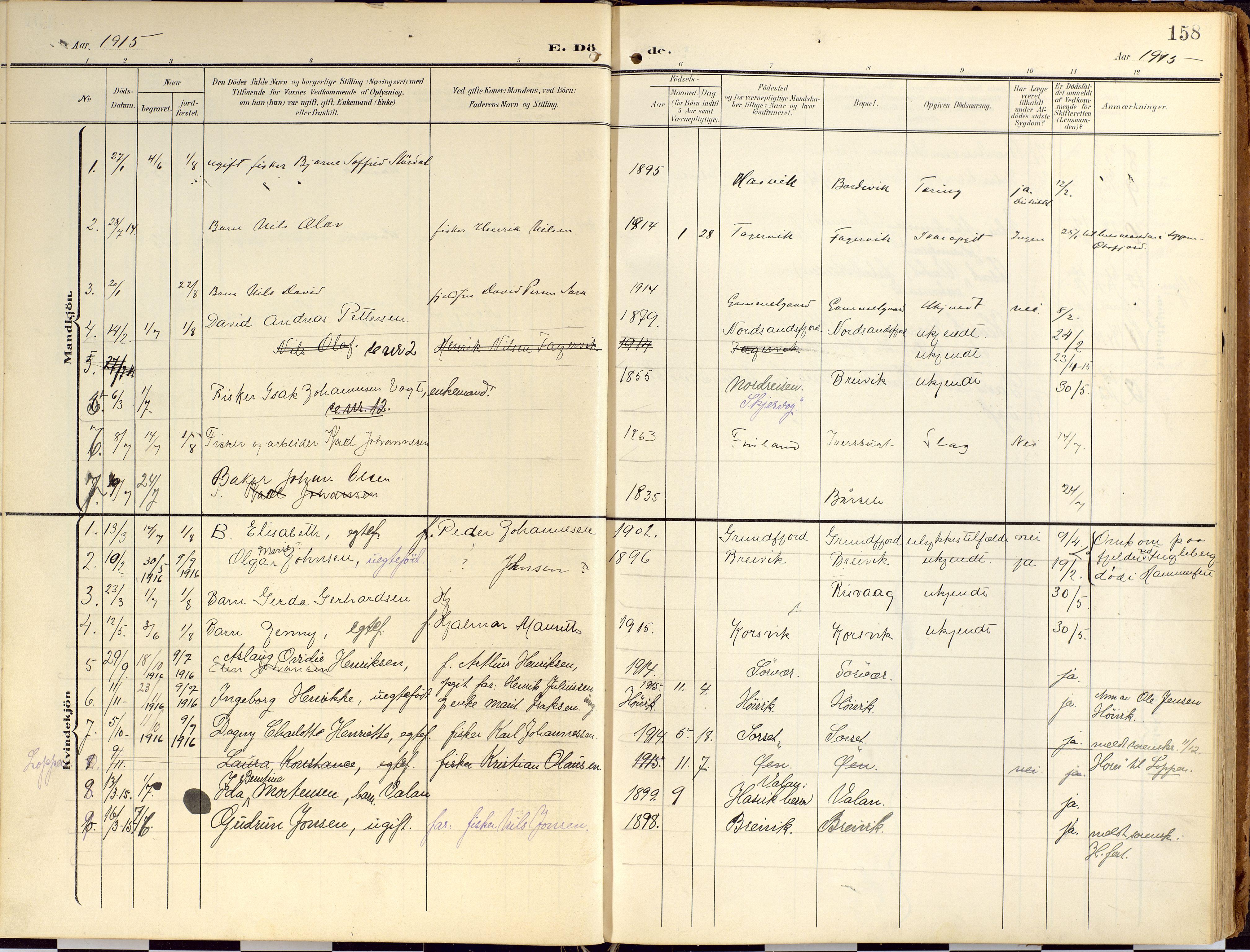 SATØ, Loppa sokneprestkontor, H/Ha/L0010kirke: Ministerialbok nr. 10, 1907-1922, s. 158