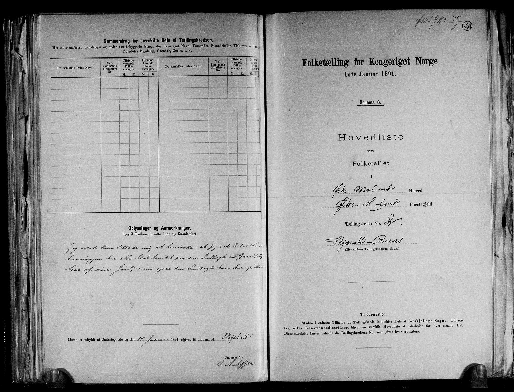 RA, Folketelling 1891 for 0918 Austre Moland herred, 1891, s. 8