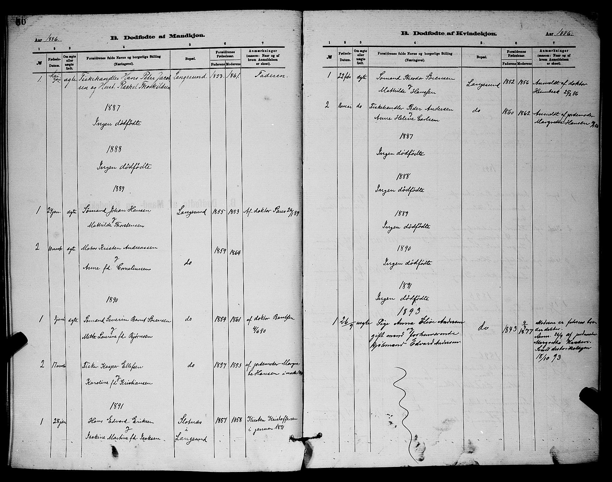 SAKO, Langesund kirkebøker, G/Ga/L0005: Klokkerbok nr. 5, 1884-1898, s. 60