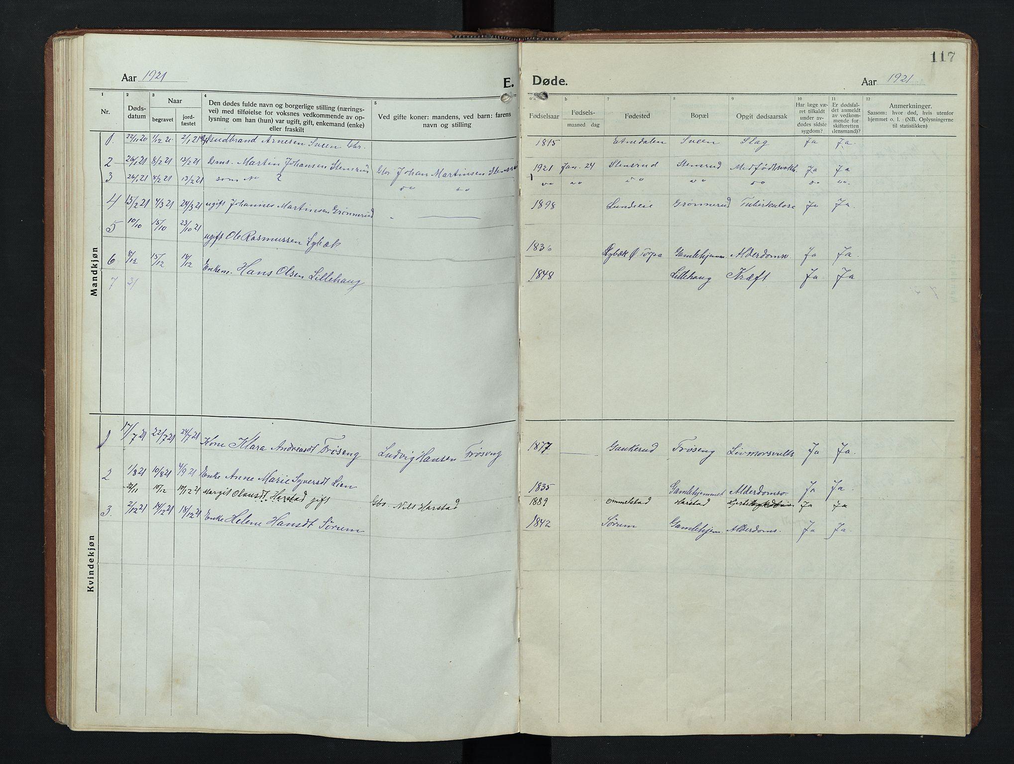 SAH, Nordre Land prestekontor, Klokkerbok nr. 9, 1921-1956, s. 117