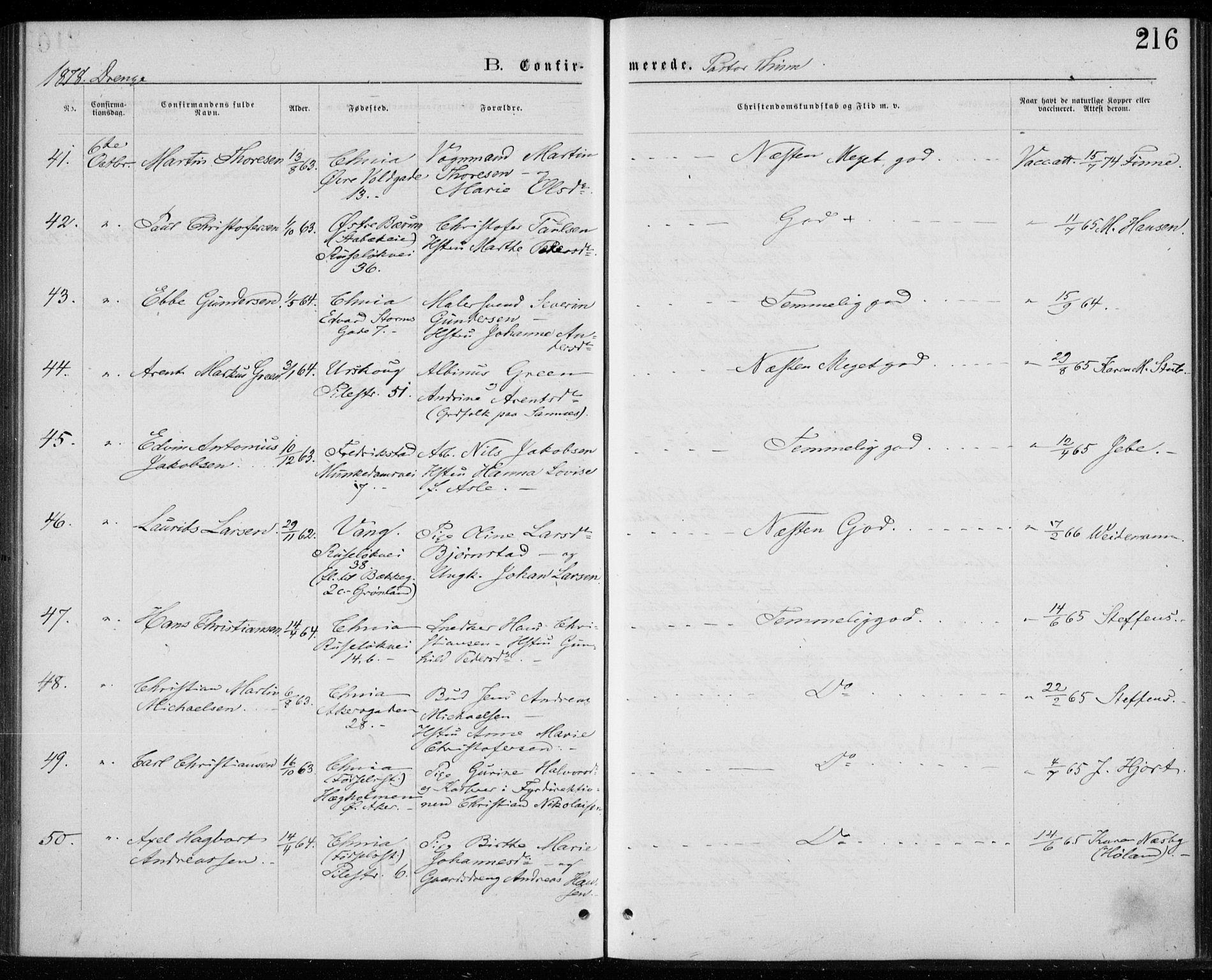 SAO, Trefoldighet prestekontor Kirkebøker, F/Fb/L0002: Ministerialbok nr. II 2, 1871-1880, s. 216