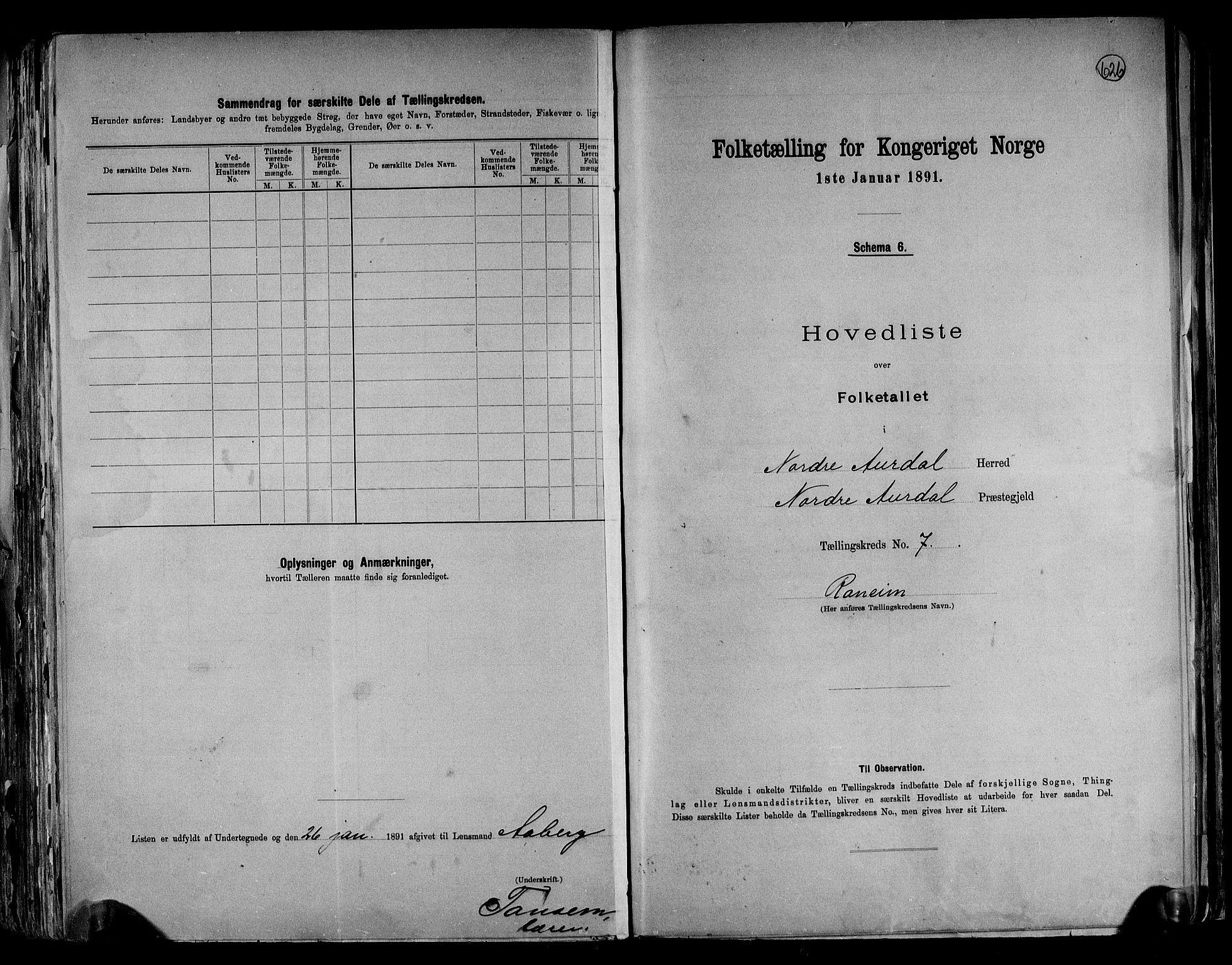 RA, Folketelling 1891 for 0542 Nord-Aurdal herred, 1891, s. 21