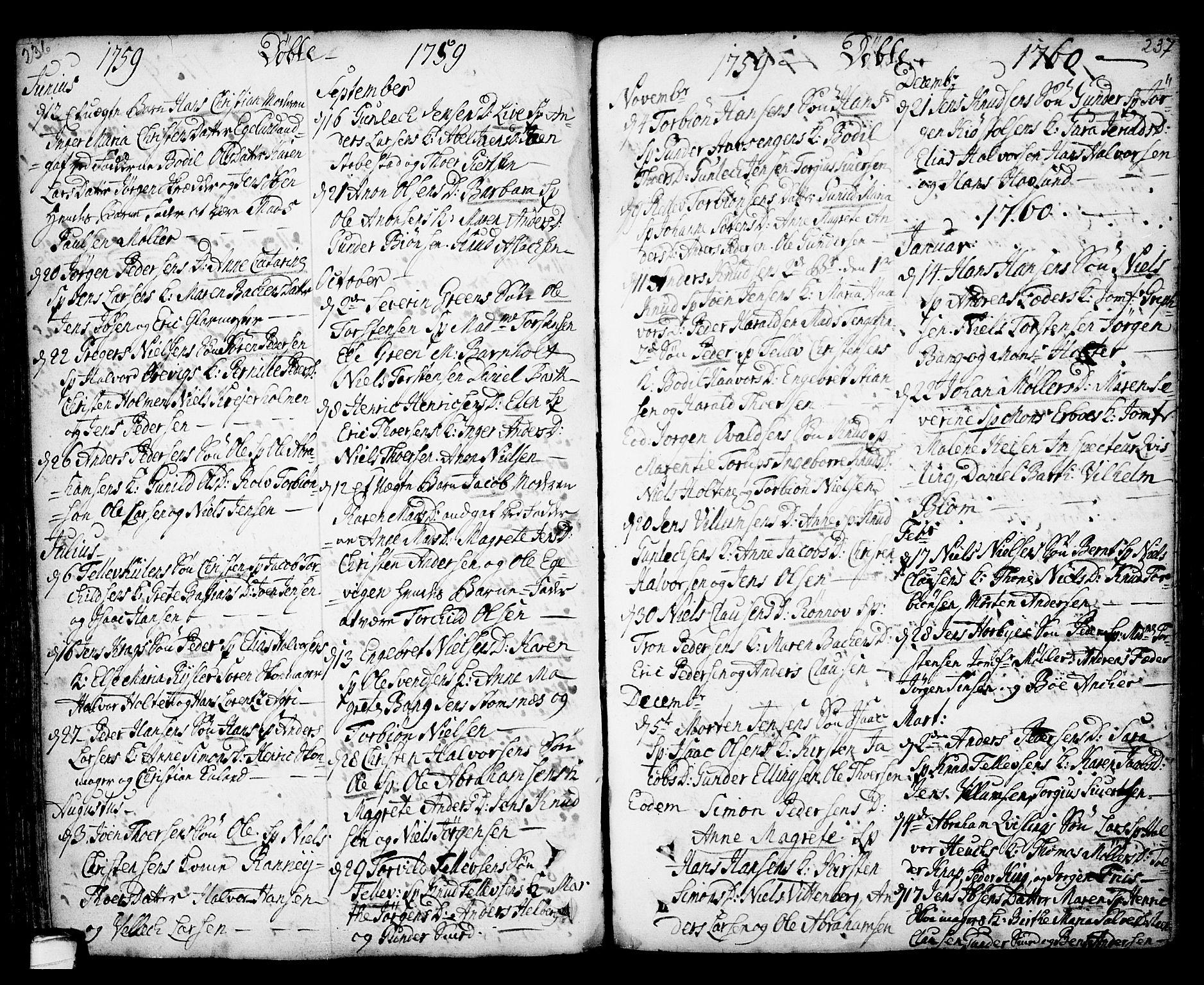SAKO, Kragerø kirkebøker, F/Fa/L0001: Ministerialbok nr. 1, 1702-1766, s. 236-237