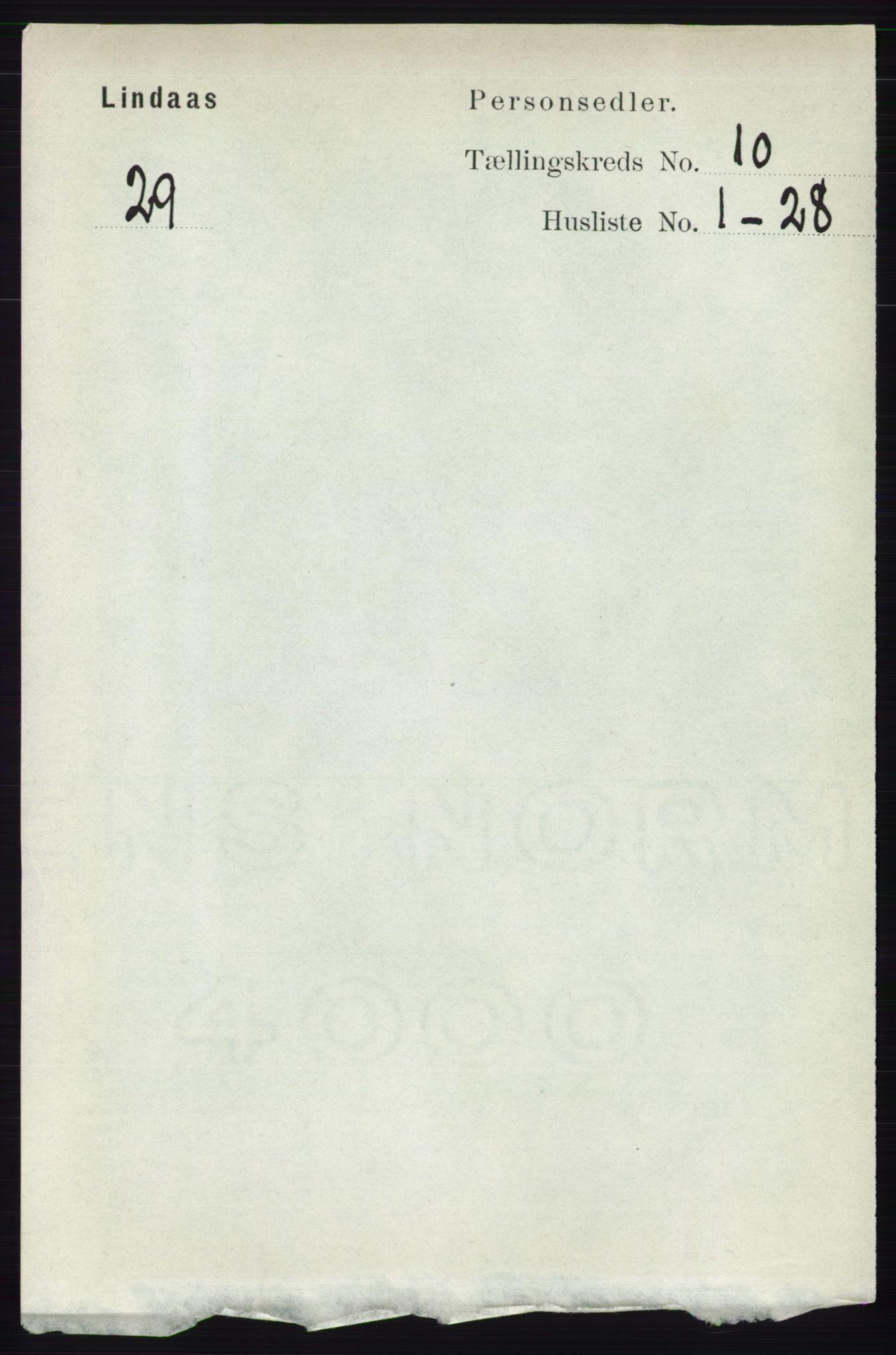 RA, Folketelling 1891 for 1263 Lindås herred, 1891, s. 3403
