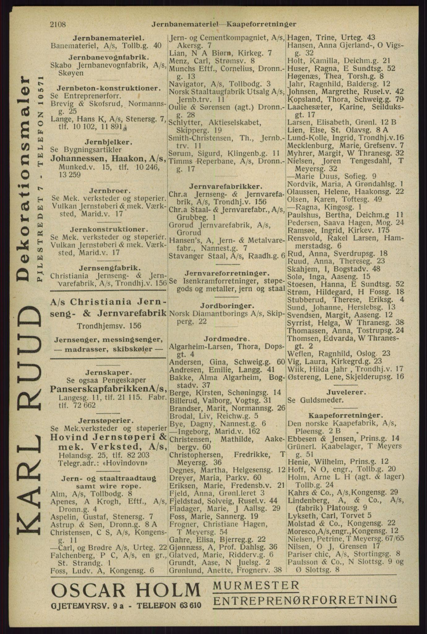 RA, Oslo adressebok (publikasjon)*, 1929, s. 2108