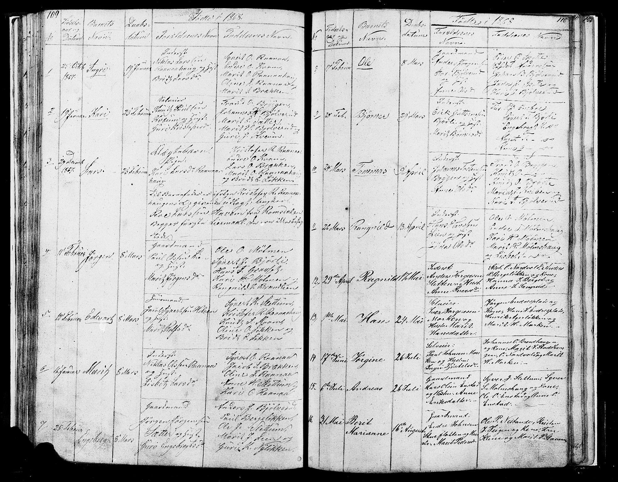 SAH, Lesja prestekontor, Klokkerbok nr. 4, 1842-1871, s. 109-110