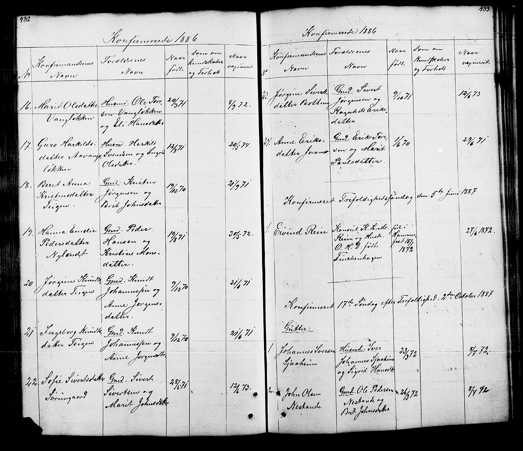 SAH, Lesja prestekontor, Klokkerbok nr. 5, 1850-1894, s. 482-483