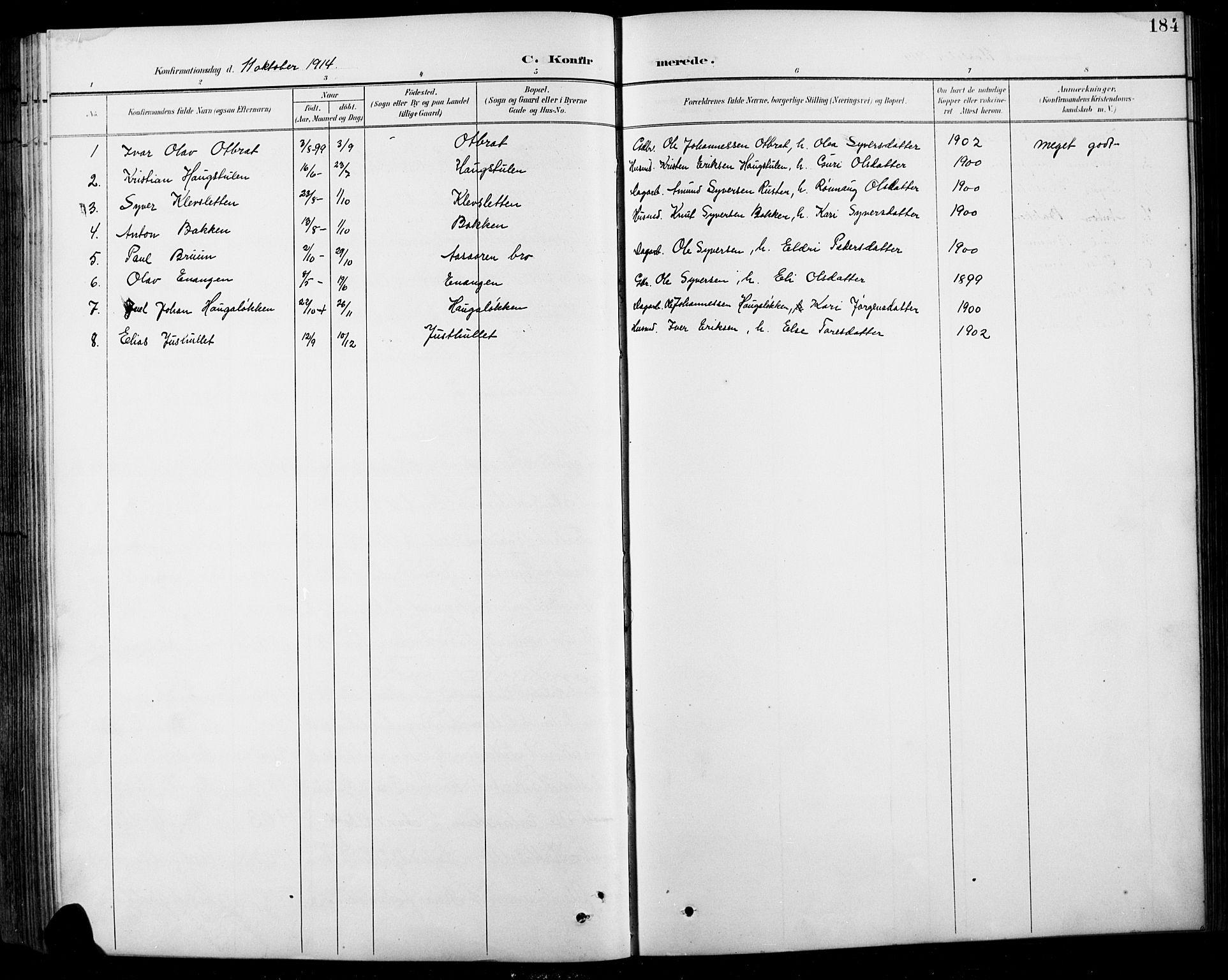 SAH, Sel prestekontor, Klokkerbok nr. 1, 1894-1923, s. 184