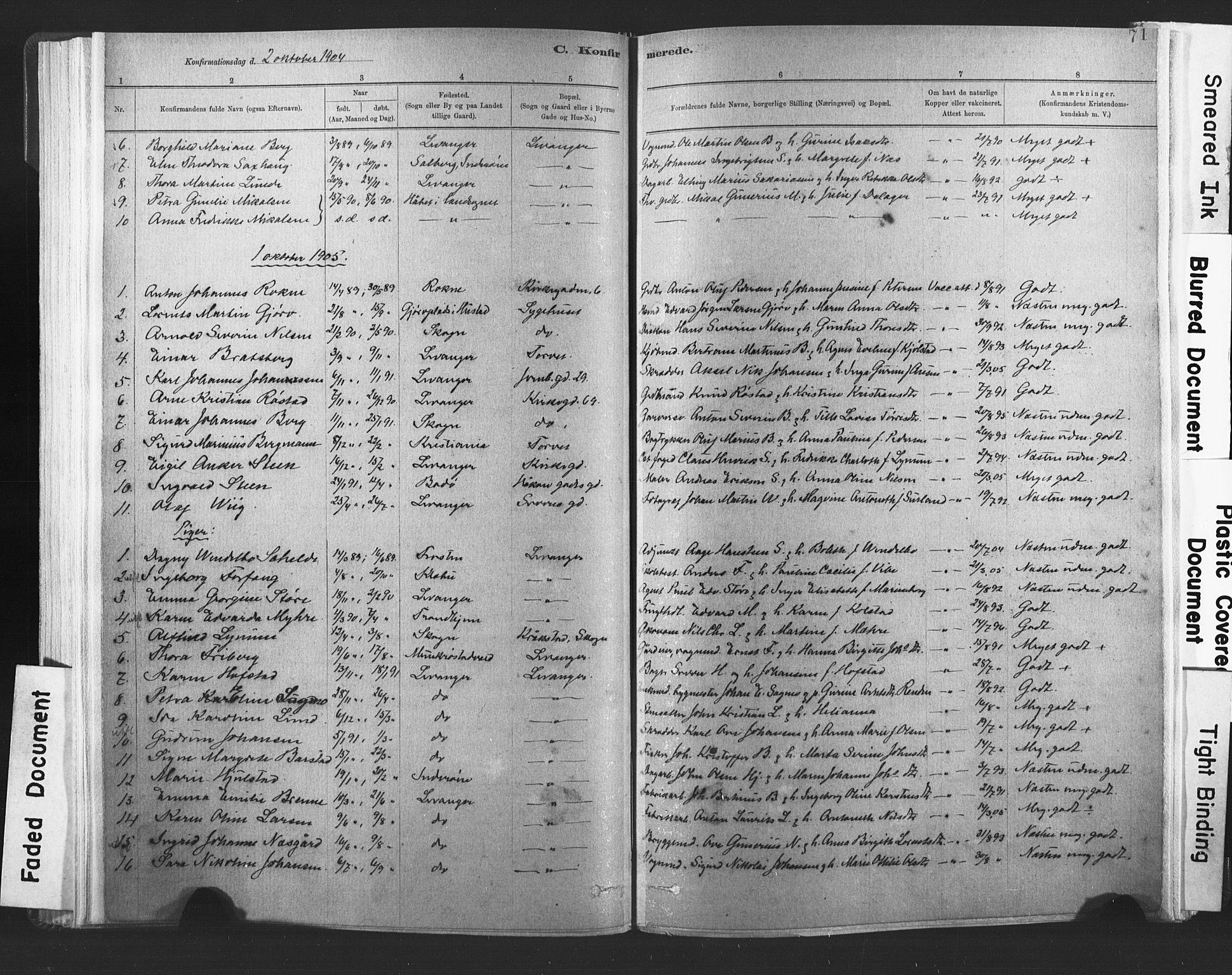 SAT, Ministerialprotokoller, klokkerbøker og fødselsregistre - Nord-Trøndelag, 720/L0189: Ministerialbok nr. 720A05, 1880-1911, s. 71