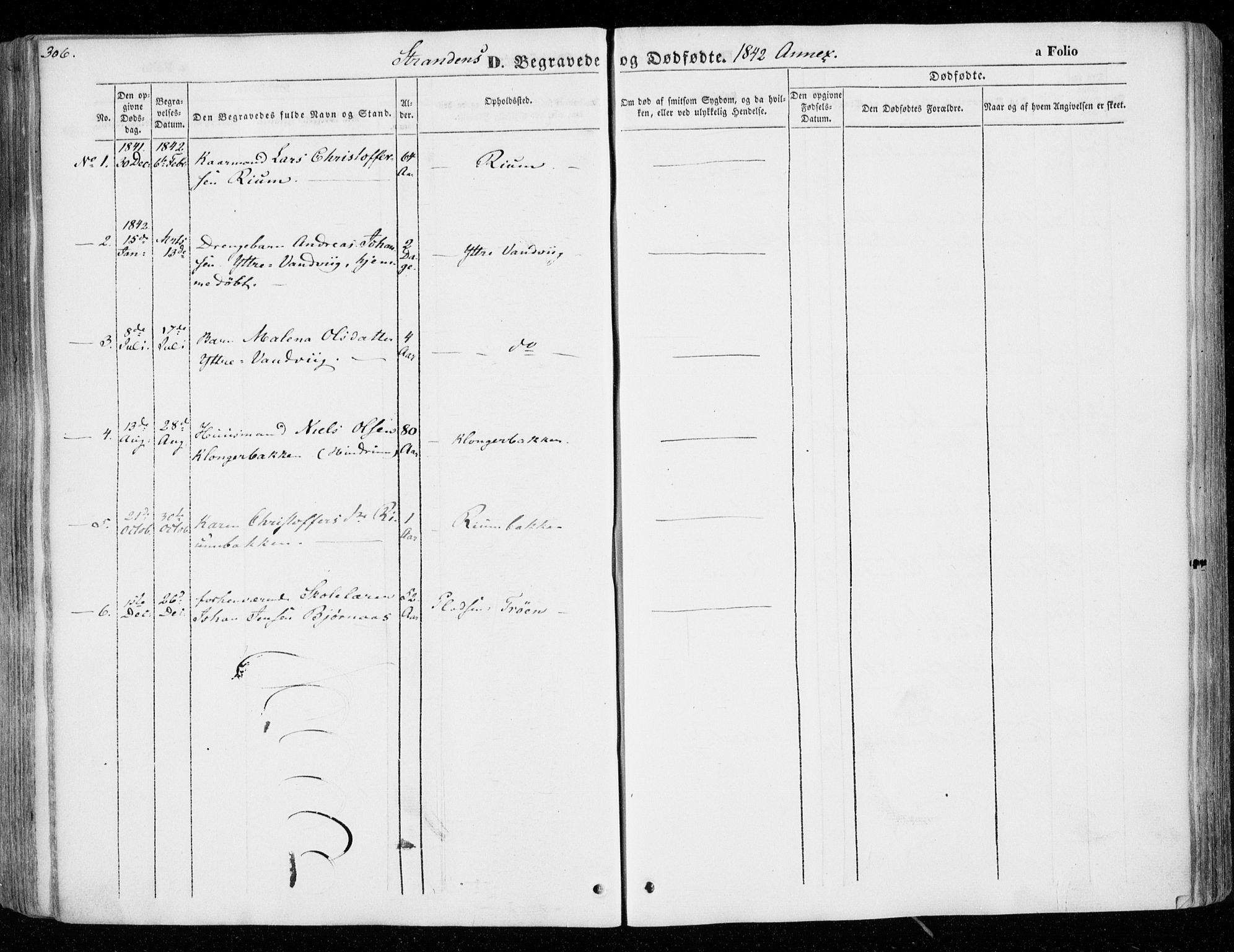 SAT, Ministerialprotokoller, klokkerbøker og fødselsregistre - Nord-Trøndelag, 701/L0007: Ministerialbok nr. 701A07 /2, 1842-1854, s. 306