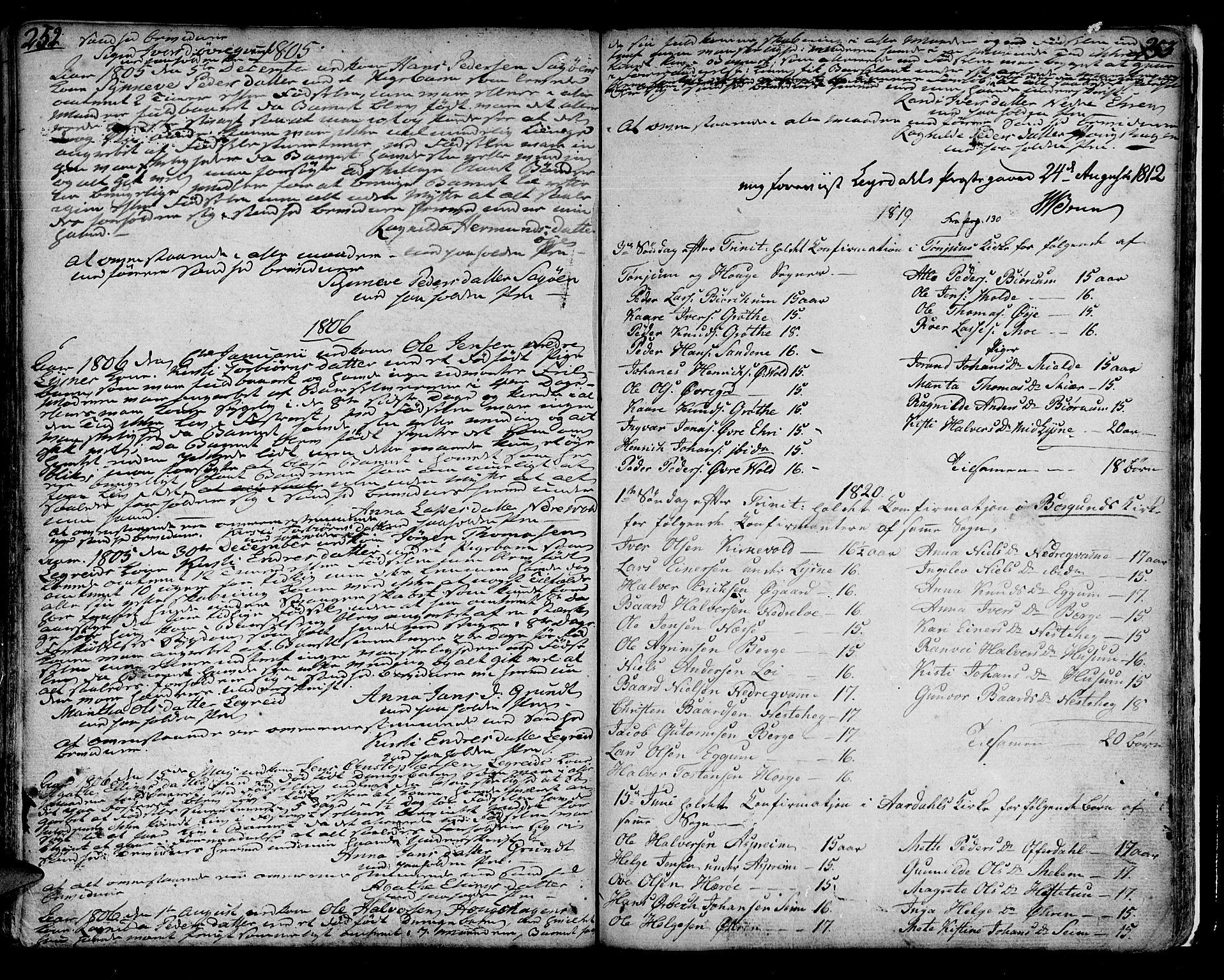 SAB, Lærdal sokneprestembete, Ministerialbok nr. A 4, 1805-1821, s. 252-253