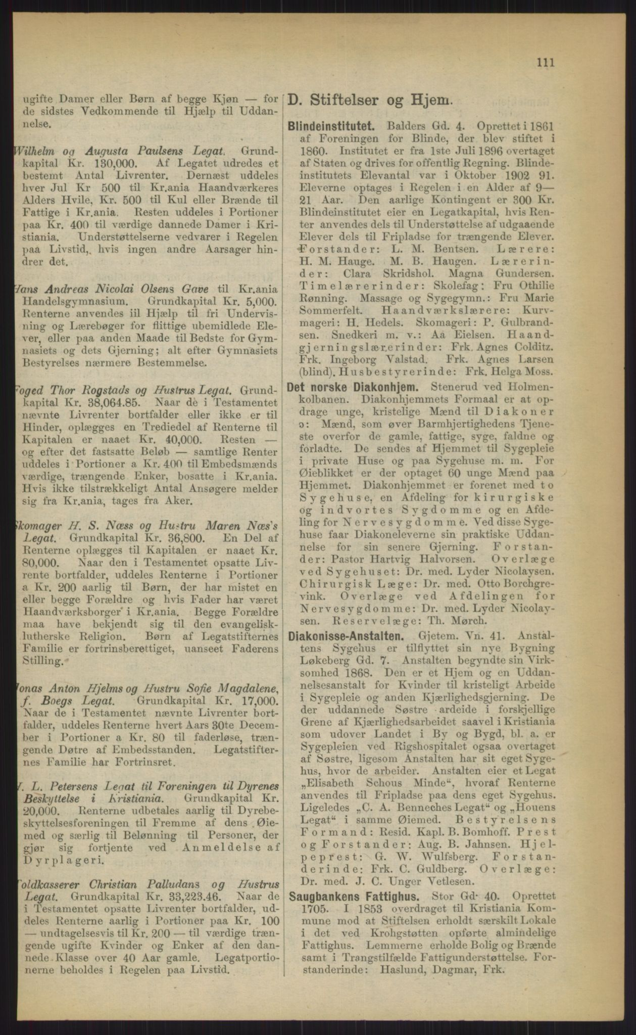 RA, Kristiania adressebok (publikasjon)*, 1903, s. 111