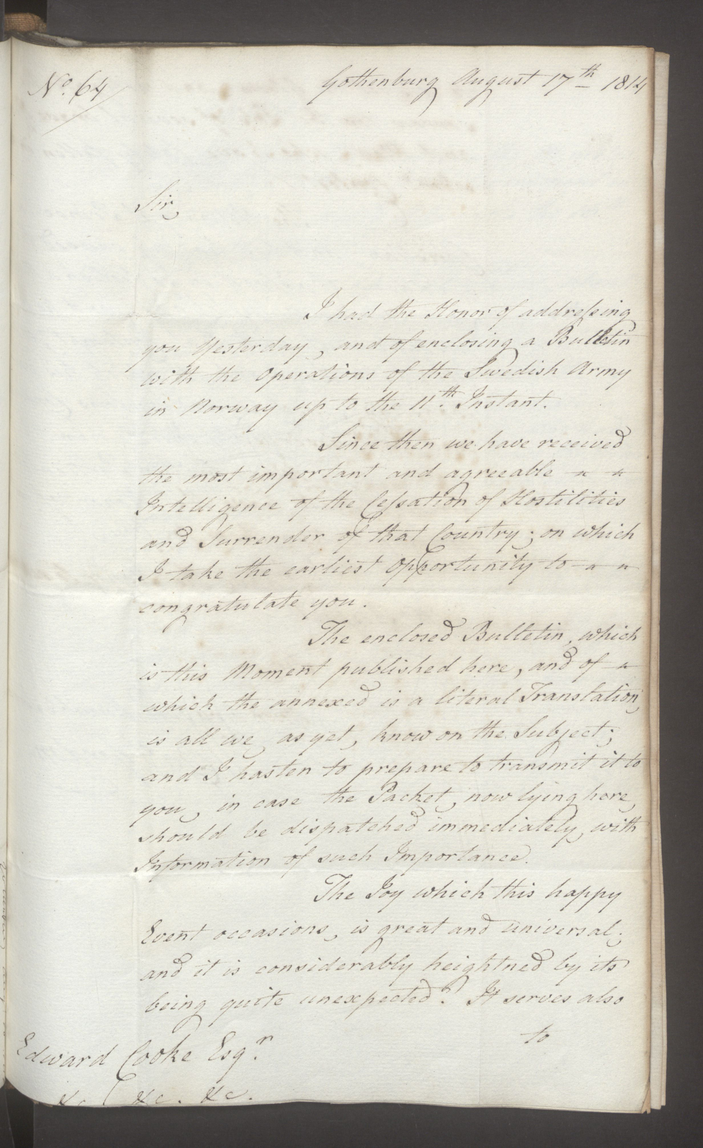 UKA, Foreign Office*, FO 38/16: Sir C. Gordon. Reports from Malmö, Jonkoping, and Helsingborg, 1814, s. 86