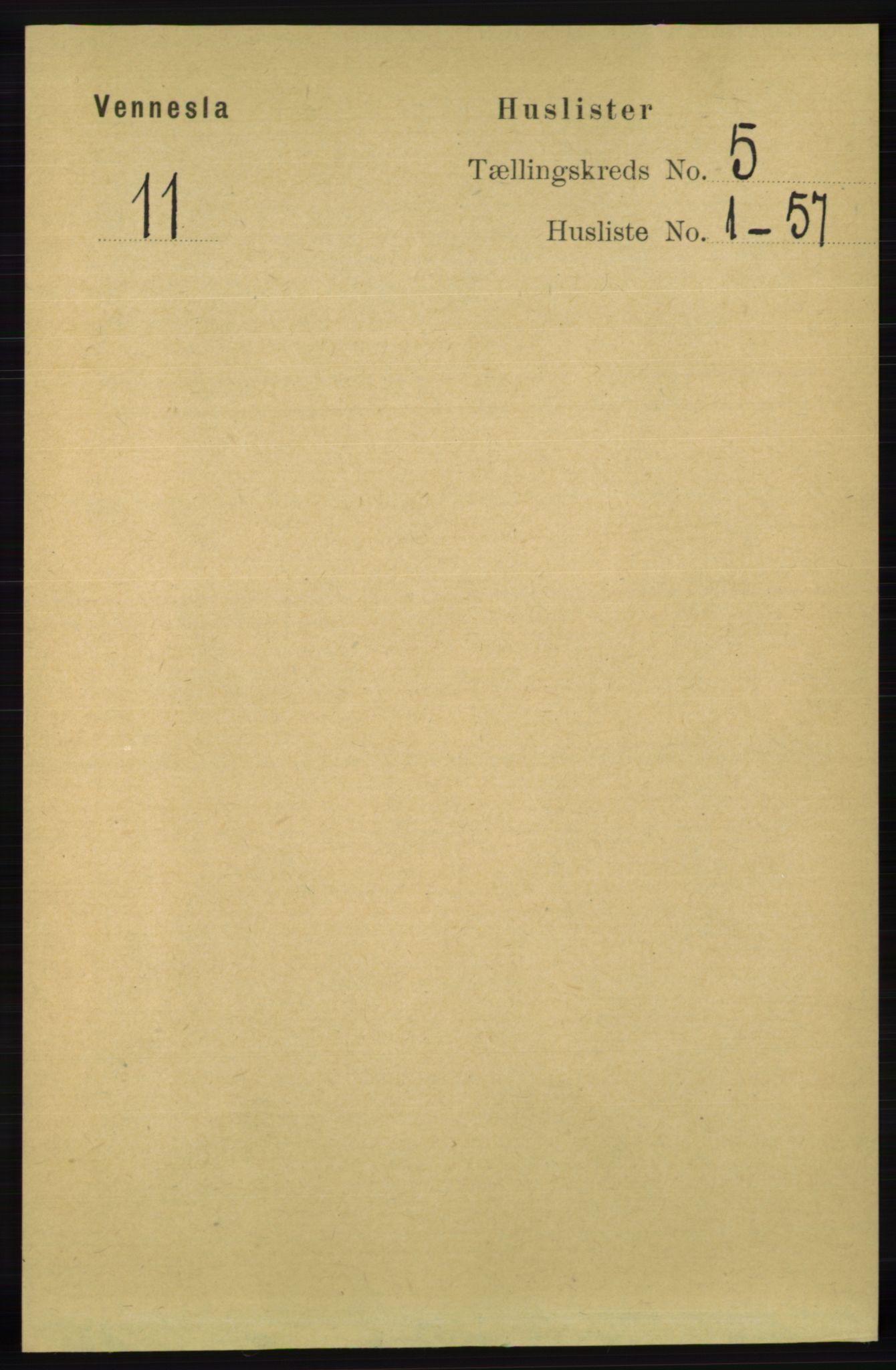 RA, Folketelling 1891 for 1014 Vennesla herred, 1891, s. 1153