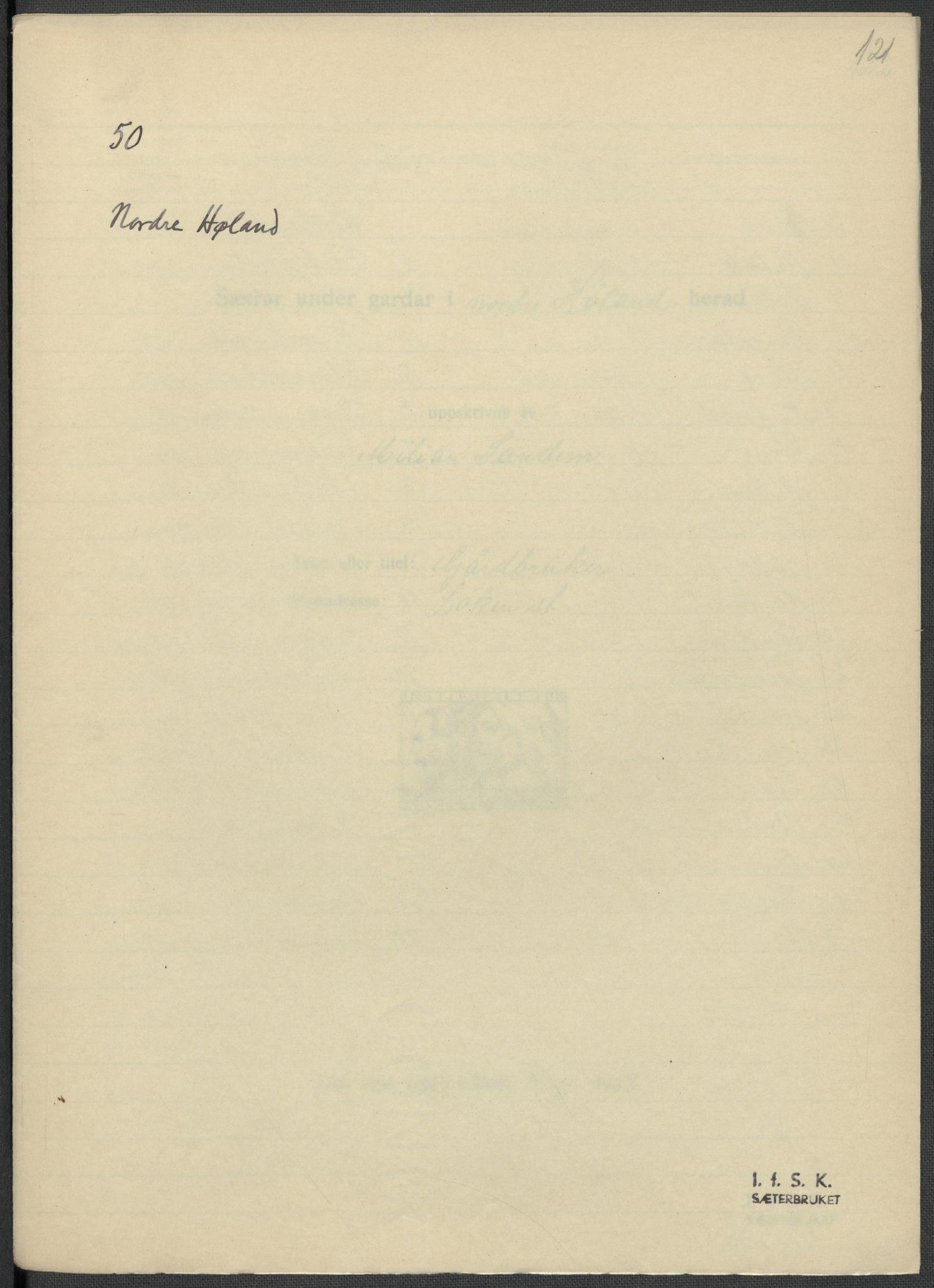 RA, Instituttet for sammenlignende kulturforskning, F/Fc/L0002: Eske B2:, 1932-1936, s. 121