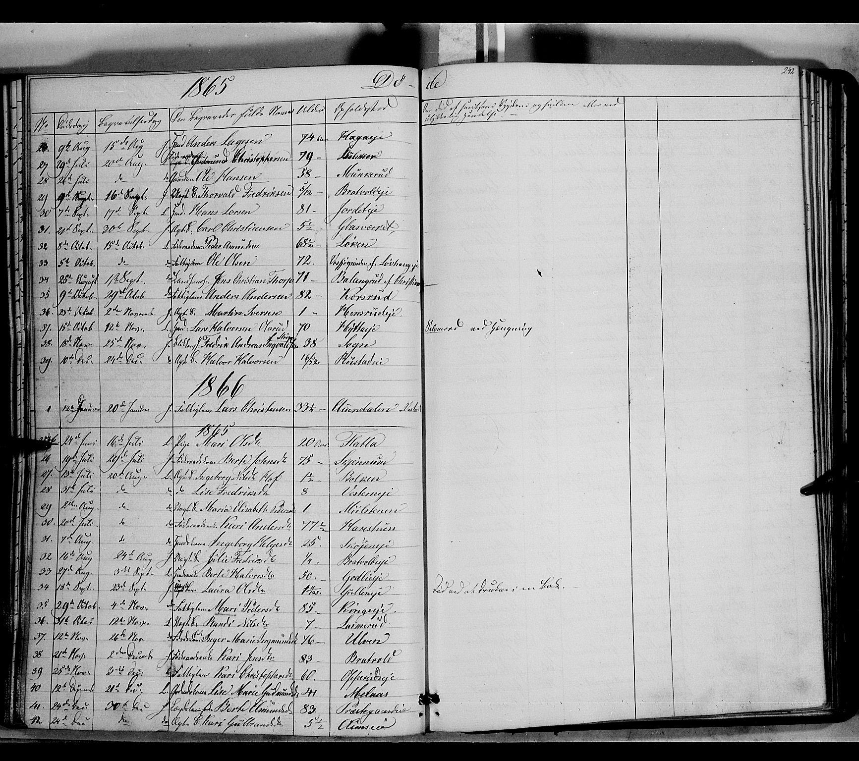 SAH, Jevnaker prestekontor, Ministerialbok nr. 7, 1858-1876, s. 242