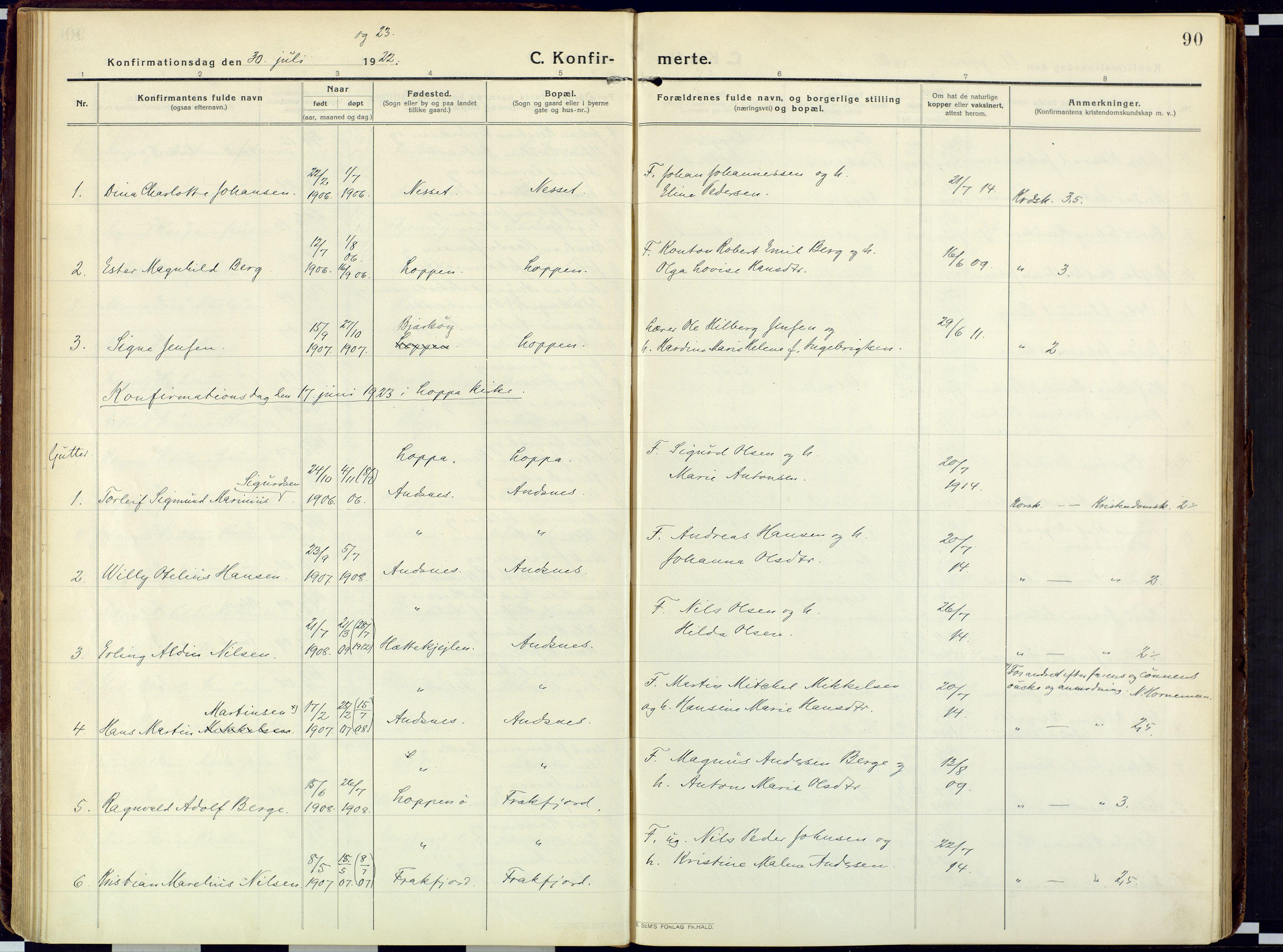 SATØ, Loppa sokneprestkontor, H/Ha/L0013kirke: Ministerialbok nr. 13, 1920-1932, s. 90