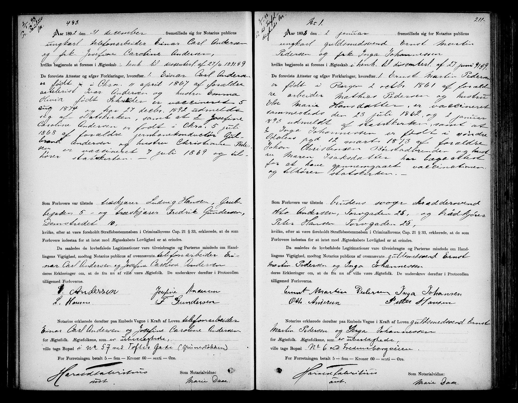 SAO, Oslo byfogd avd. I, L/Lb/Lbb/L0001: Notarialprotokoll, rekke II: Vigsler, 1892-1893, s. 210b-211a