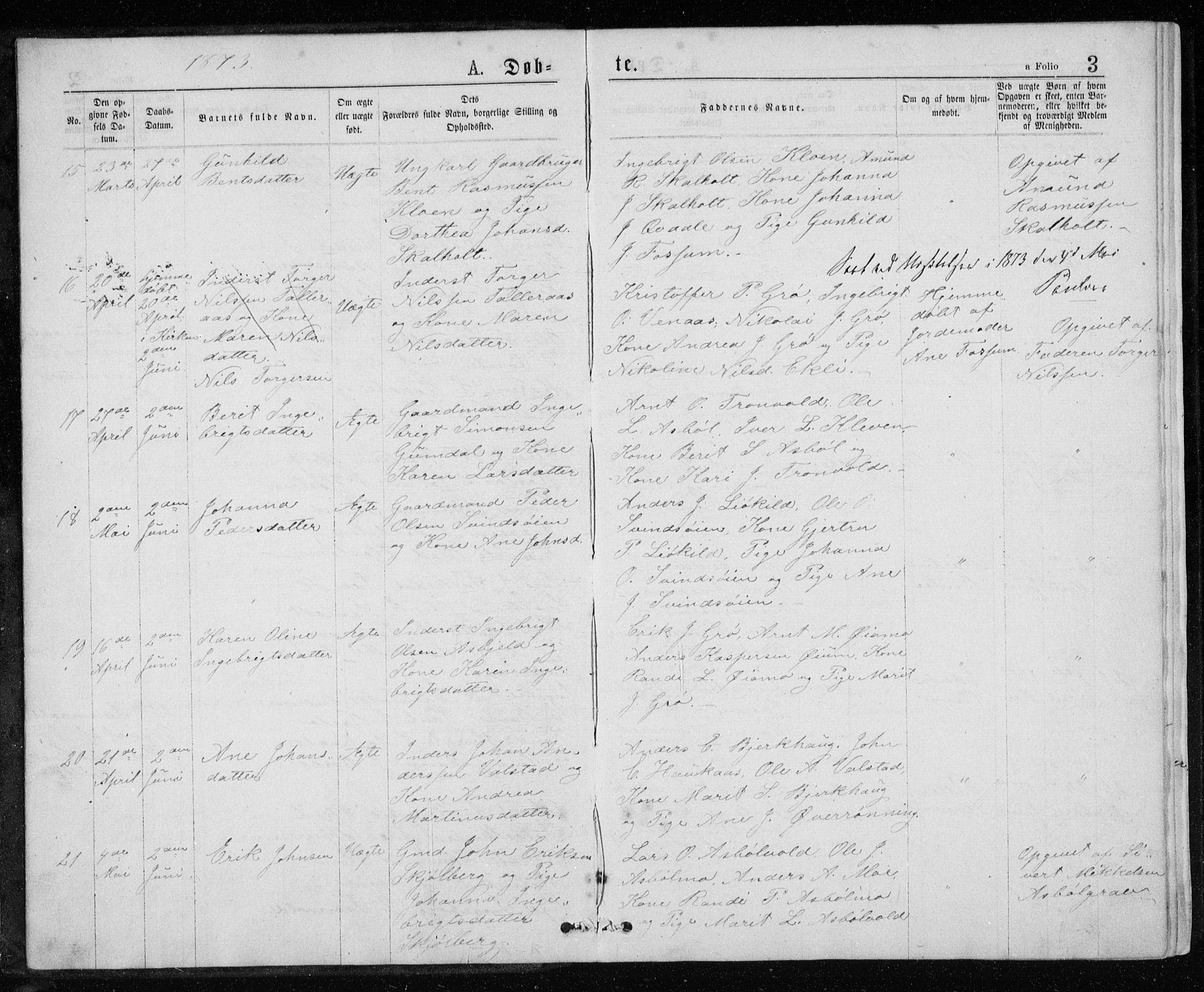 SAT, Ministerialprotokoller, klokkerbøker og fødselsregistre - Sør-Trøndelag, 671/L0843: Klokkerbok nr. 671C02, 1873-1892, s. 3