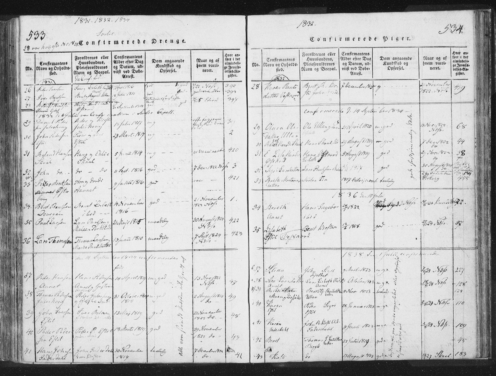 SAT, Ministerialprotokoller, klokkerbøker og fødselsregistre - Nord-Trøndelag, 755/L0491: Ministerialbok nr. 755A01 /2, 1817-1864, s. 533-534