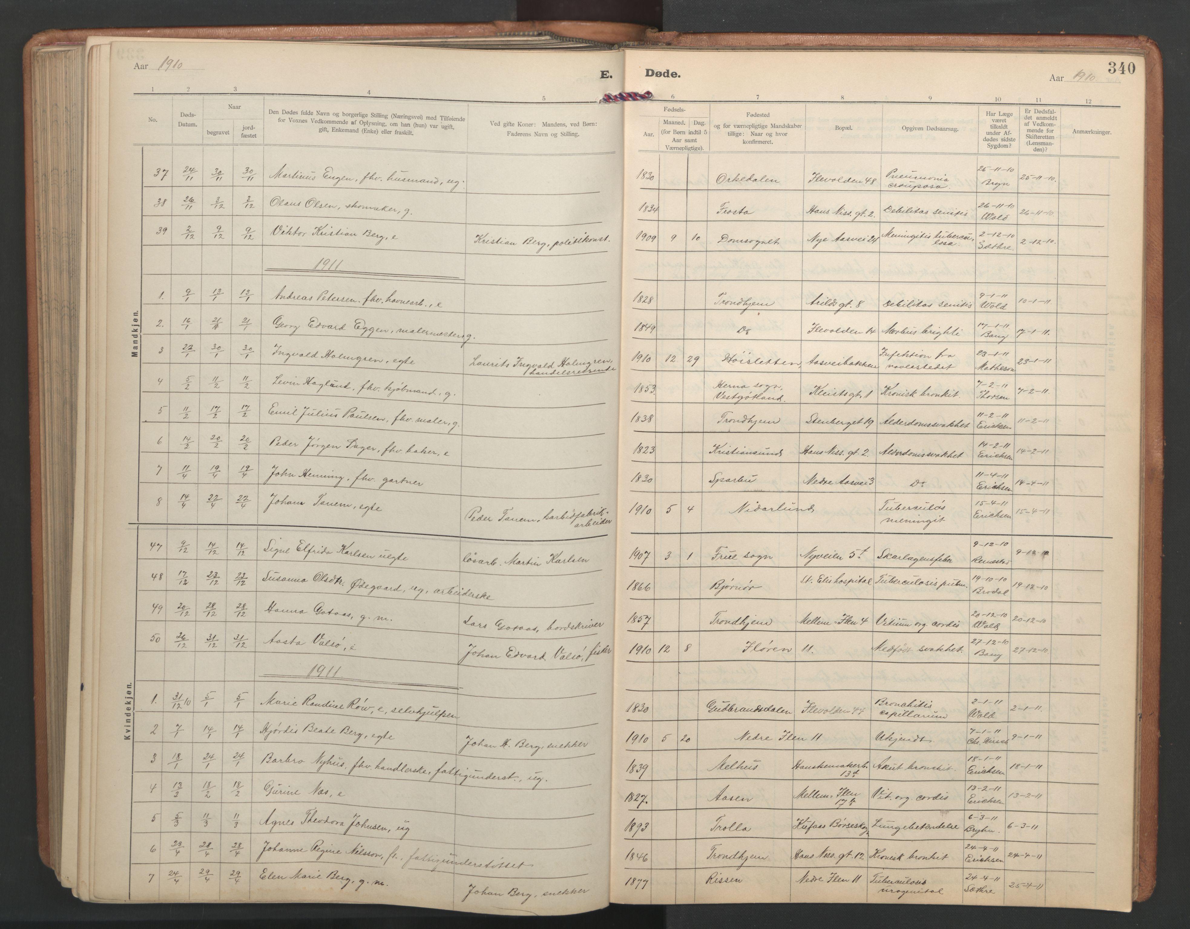 SAT, Ministerialprotokoller, klokkerbøker og fødselsregistre - Sør-Trøndelag, 603/L0173: Klokkerbok nr. 603C01, 1907-1962, s. 340