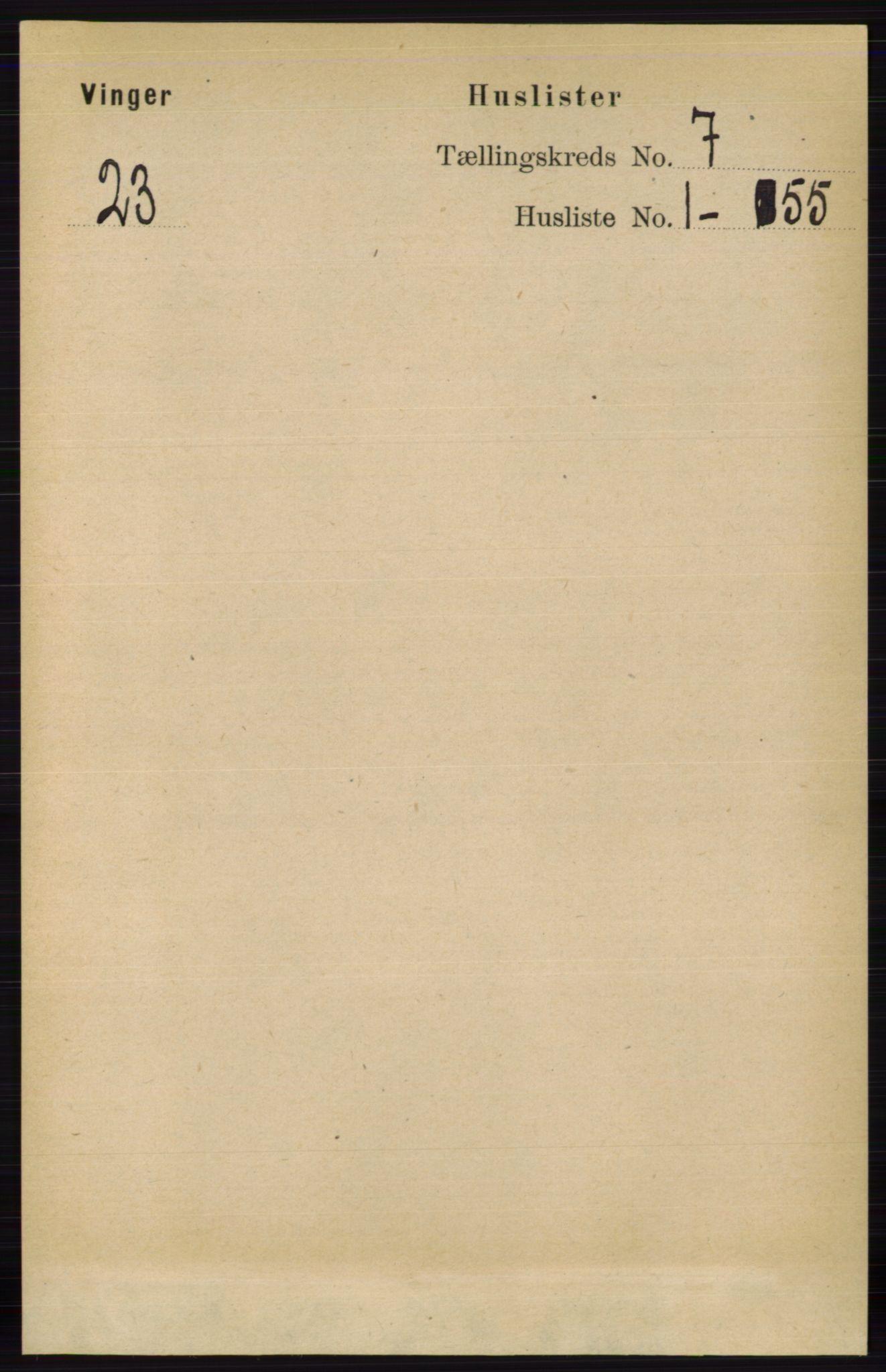 RA, Folketelling 1891 for 0421 Vinger herred, 1891, s. 3174