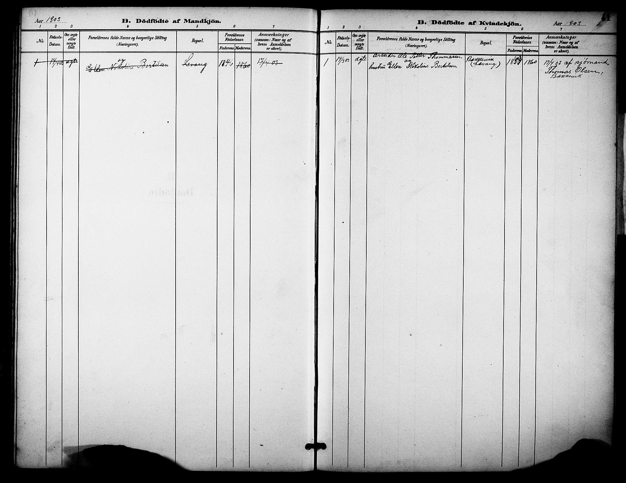 SAKO, Skåtøy kirkebøker, G/Gb/L0001: Klokkerbok nr. II 1, 1892-1916, s. 41