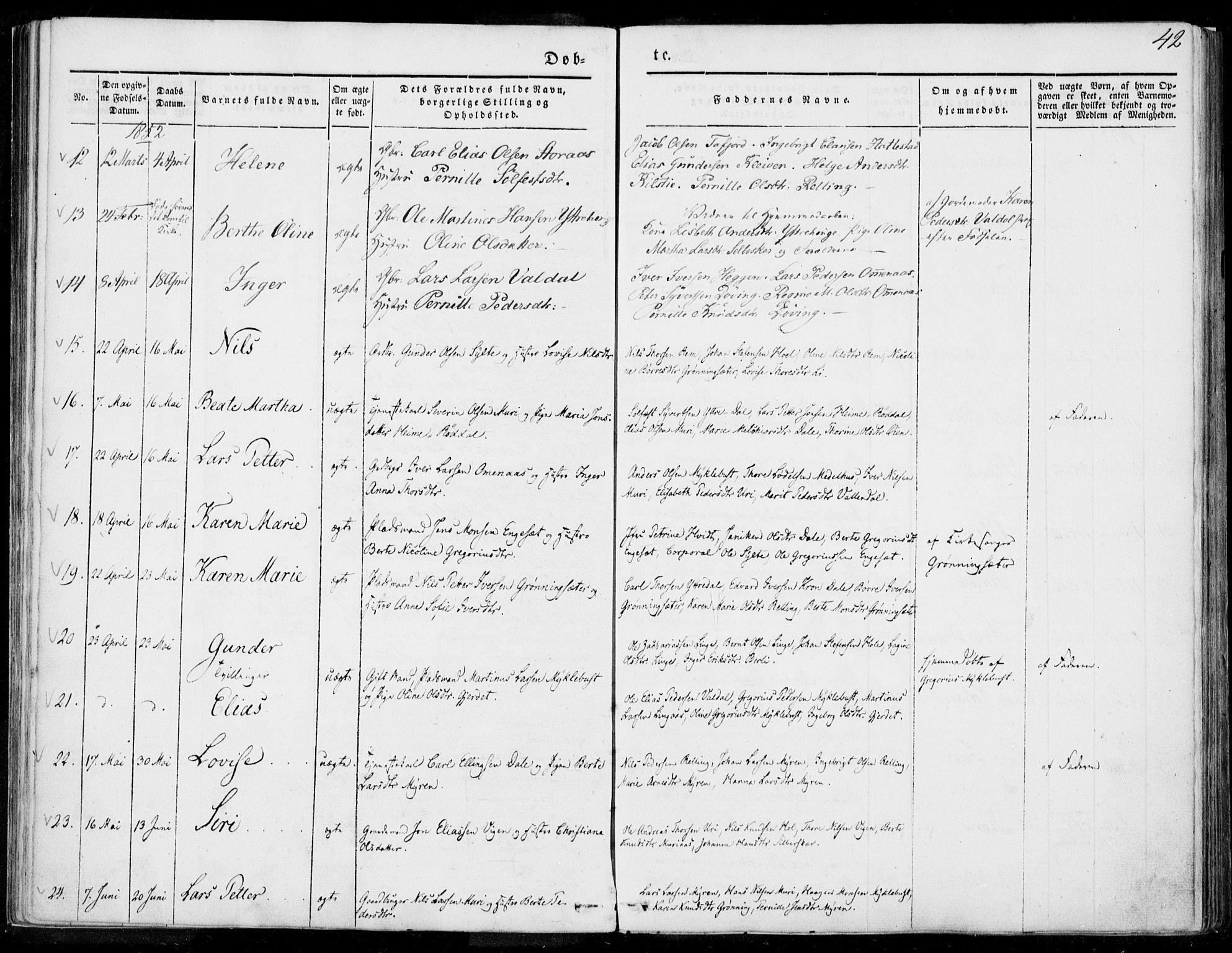 SAT, Ministerialprotokoller, klokkerbøker og fødselsregistre - Møre og Romsdal, 519/L0249: Ministerialbok nr. 519A08, 1846-1868, s. 42