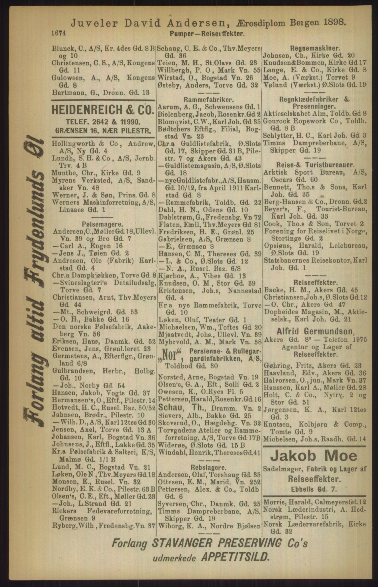 RA, Kristiania adressebok (publikasjon)*, 1911, s. 1674
