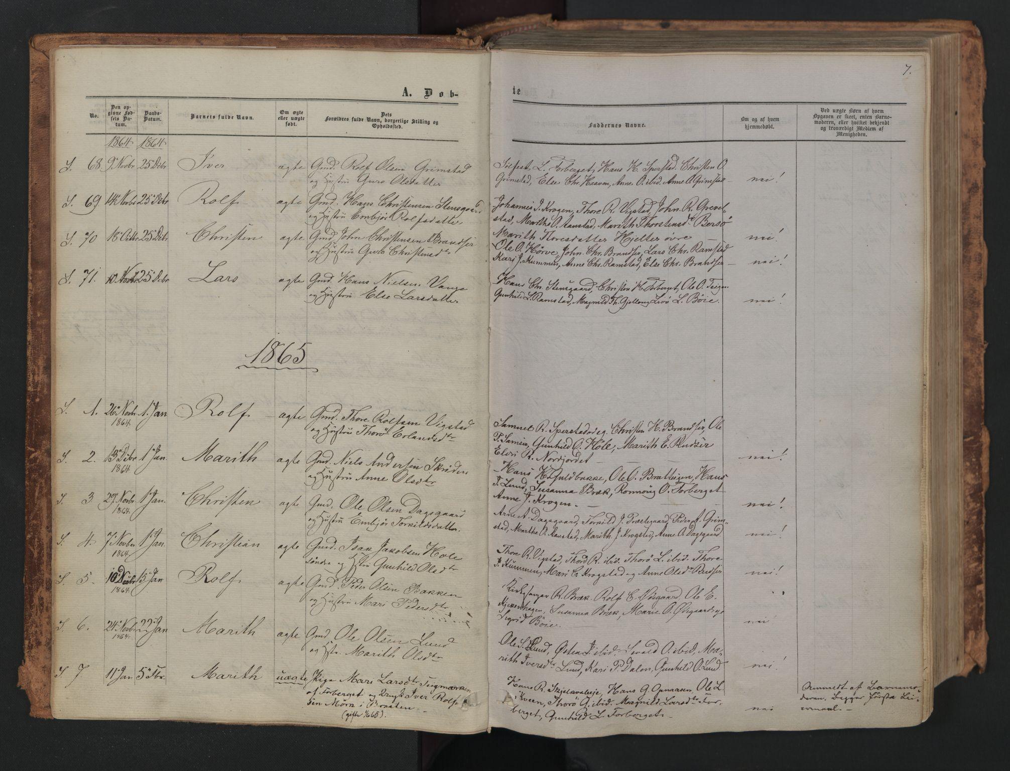 SAH, Skjåk prestekontor, Ministerialbok nr. 1, 1863-1879, s. 7