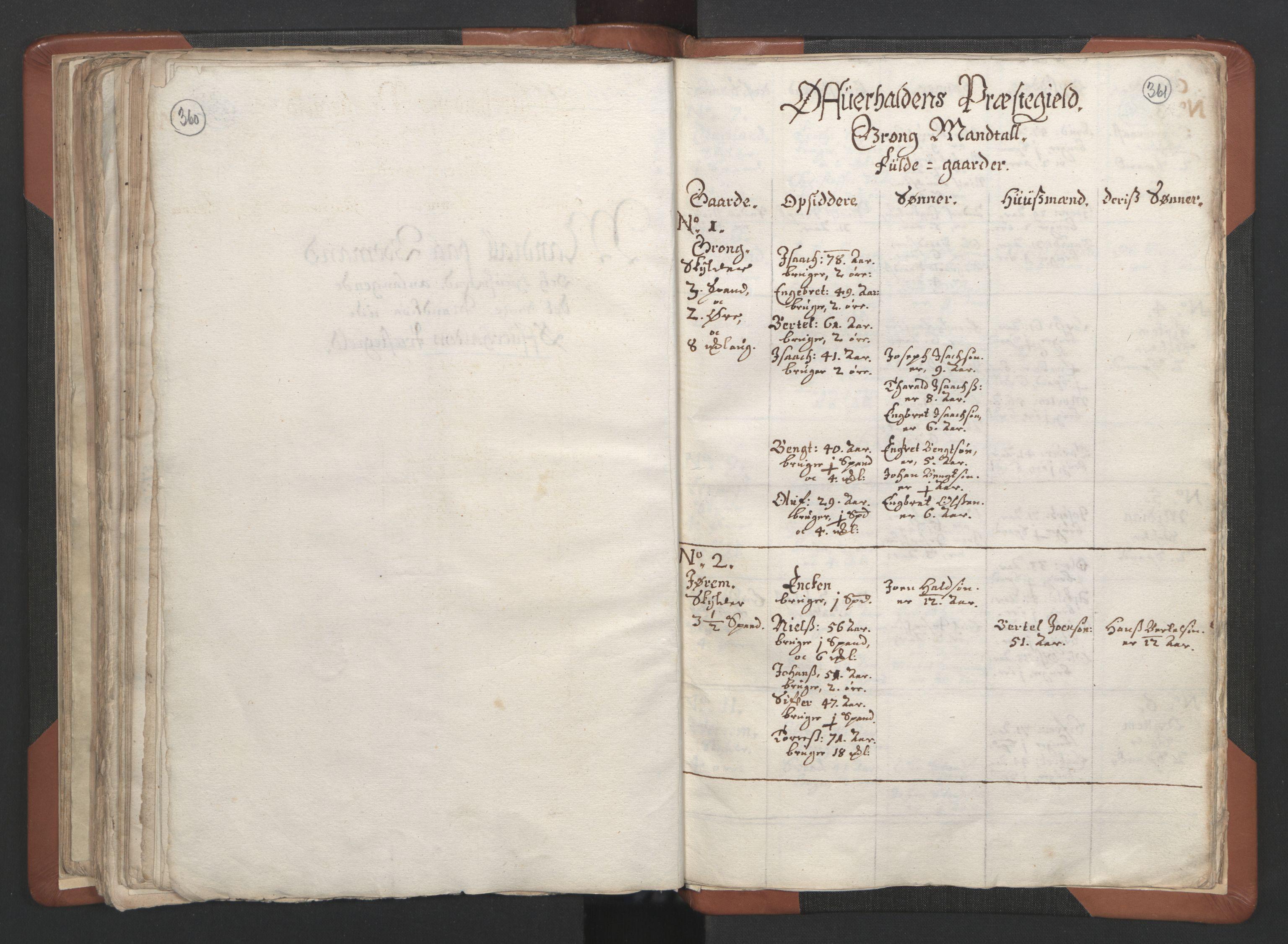 RA, Sogneprestenes manntall 1664-1666, nr. 34: Namdal prosti, 1664-1666, s. 360-361