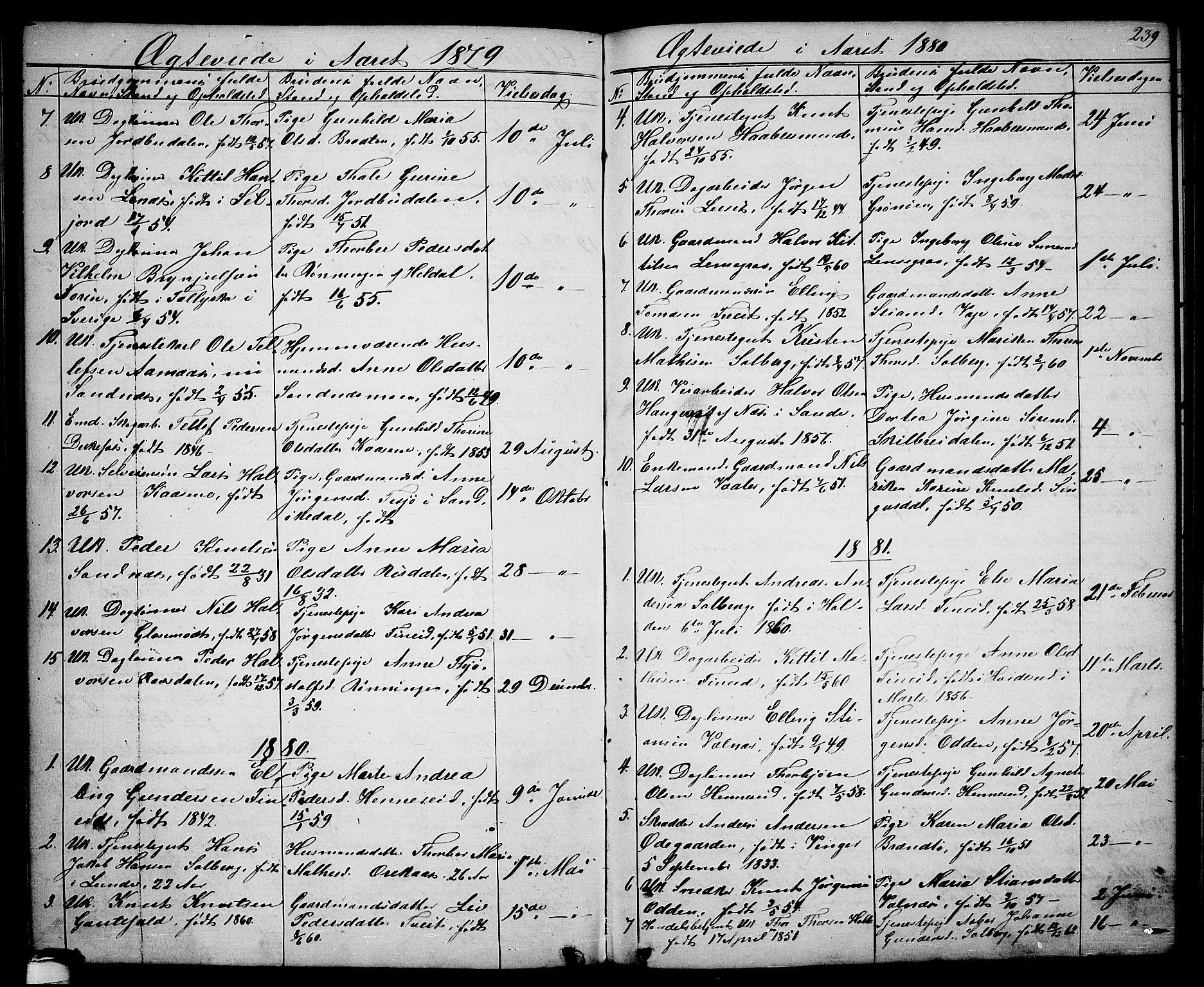SAKO, Drangedal kirkebøker, G/Ga/L0002: Klokkerbok nr. I 2, 1856-1887, s. 239