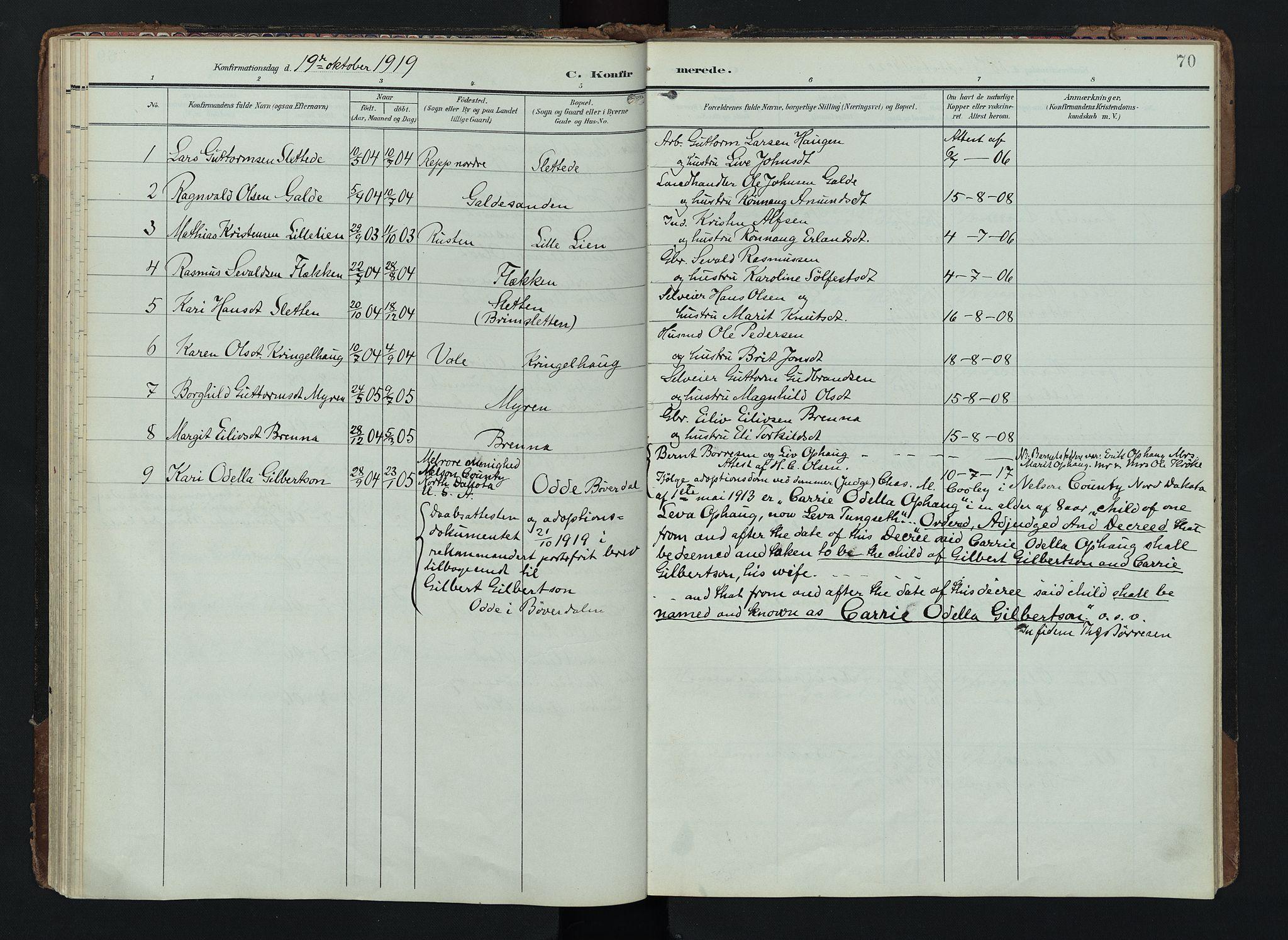 SAH, Lom prestekontor, K/L0012: Ministerialbok nr. 12, 1904-1928, s. 70