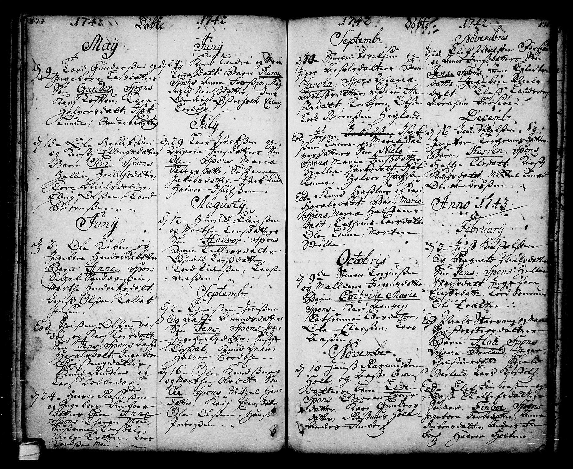 SAKO, Sannidal kirkebøker, F/Fa/L0001: Ministerialbok nr. 1, 1702-1766, s. 174-175