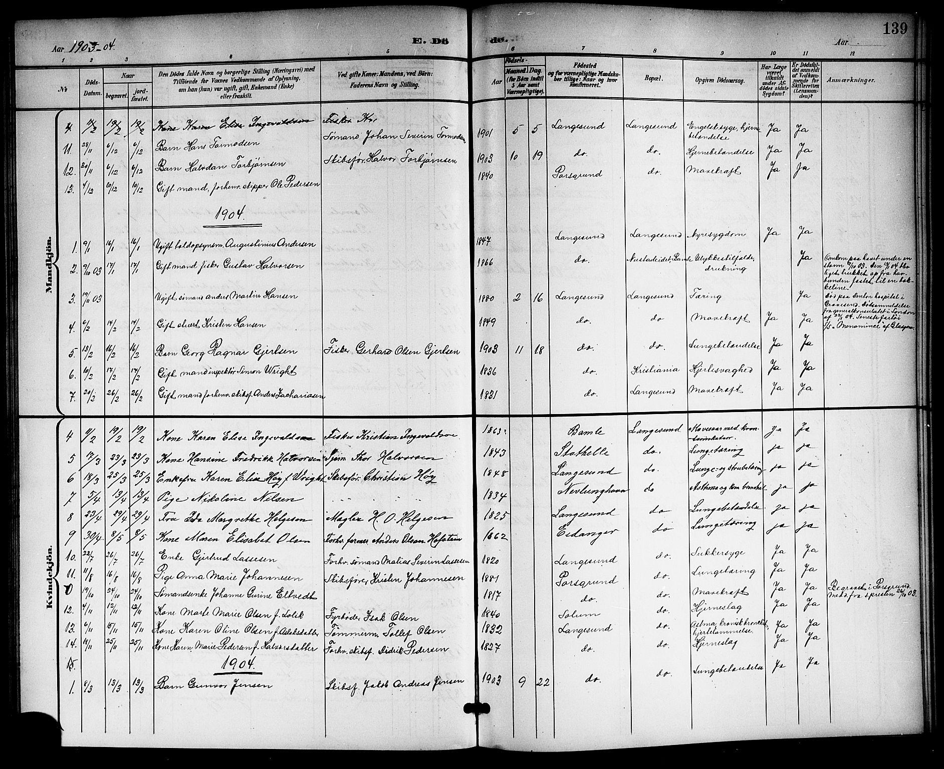 SAKO, Langesund kirkebøker, G/Ga/L0006: Klokkerbok nr. 6, 1899-1918, s. 139