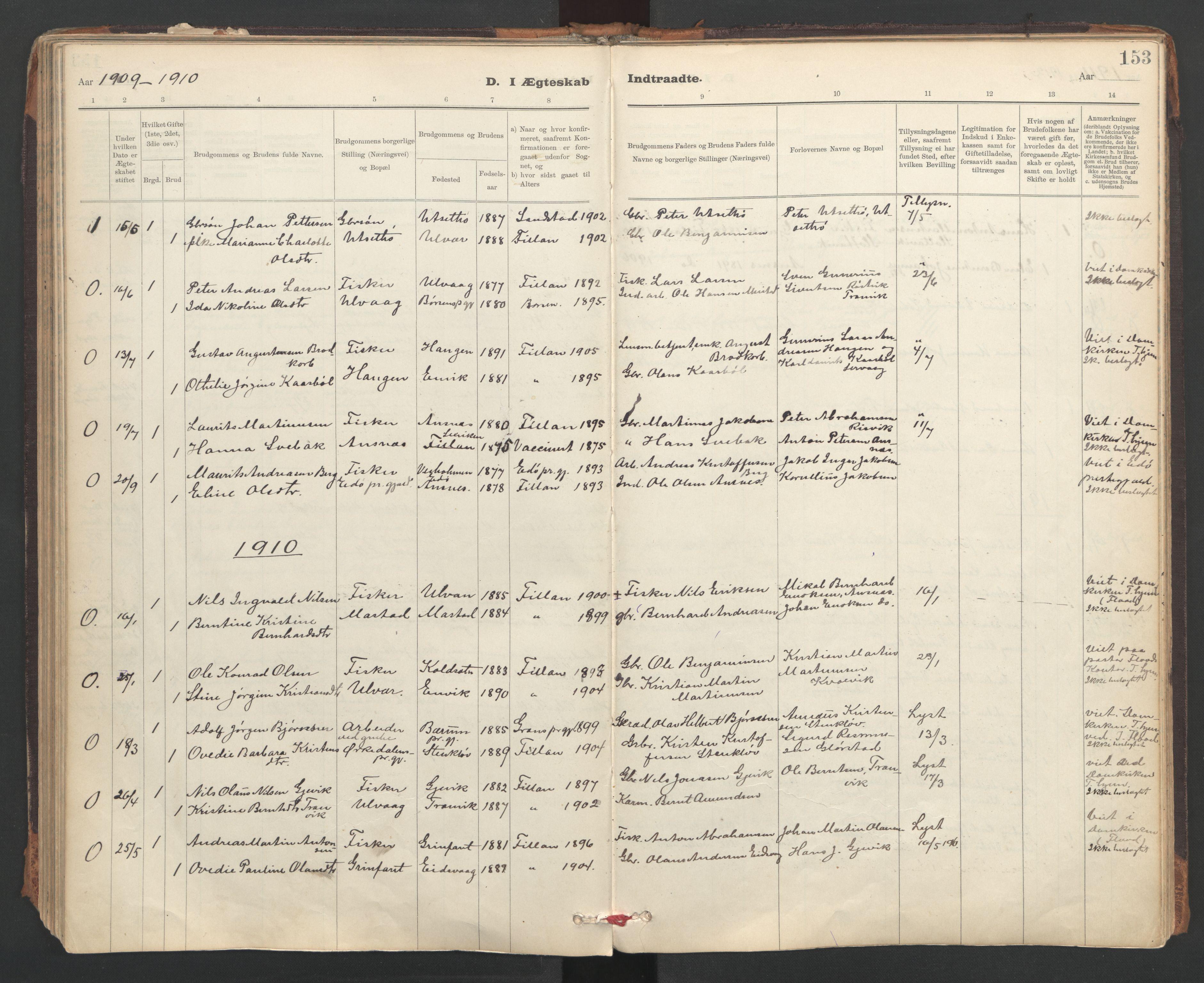 SAT, Ministerialprotokoller, klokkerbøker og fødselsregistre - Sør-Trøndelag, 637/L0559: Ministerialbok nr. 637A02, 1899-1923, s. 153