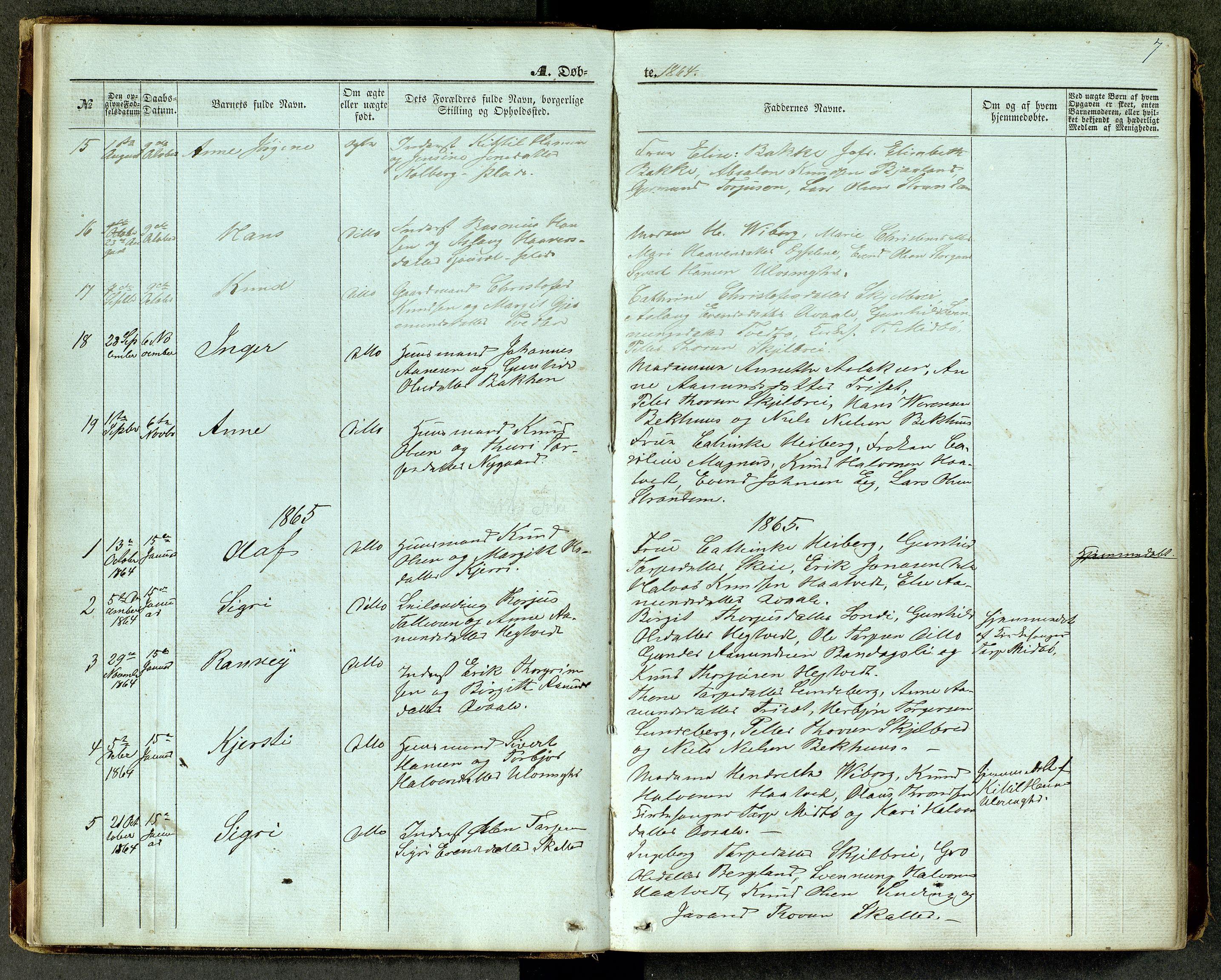 SAKO, Lårdal kirkebøker, G/Ga/L0002: Klokkerbok nr. I 2, 1861-1890, s. 7