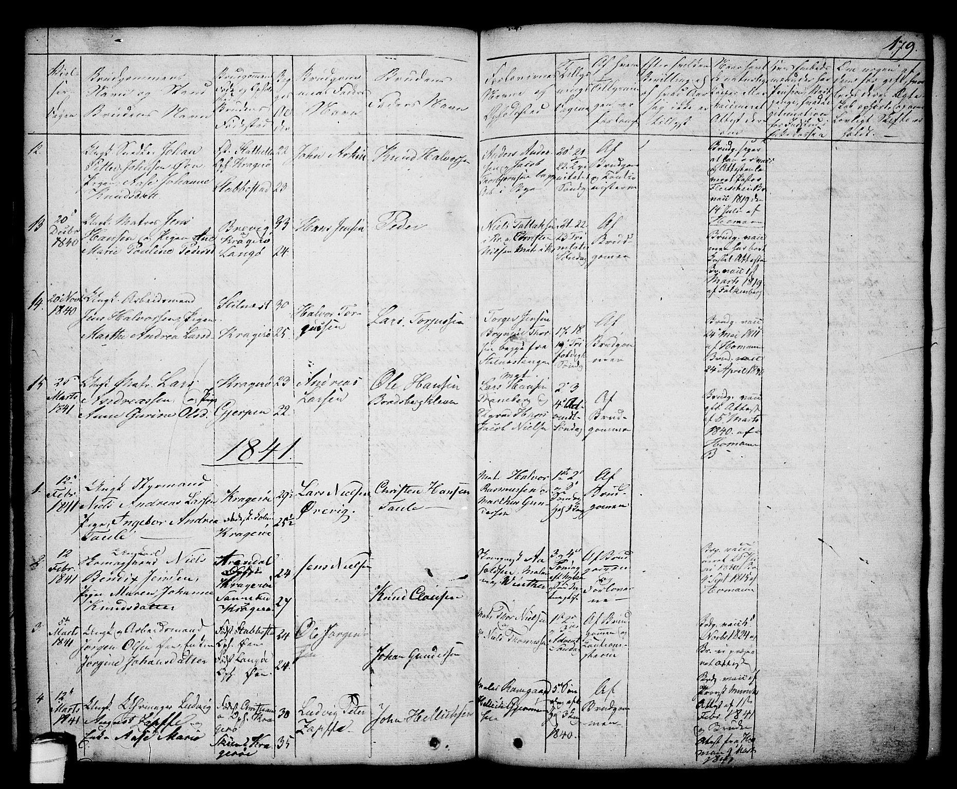 SAKO, Kragerø kirkebøker, G/Ga/L0003: Klokkerbok nr. 3, 1832-1852, s. 179