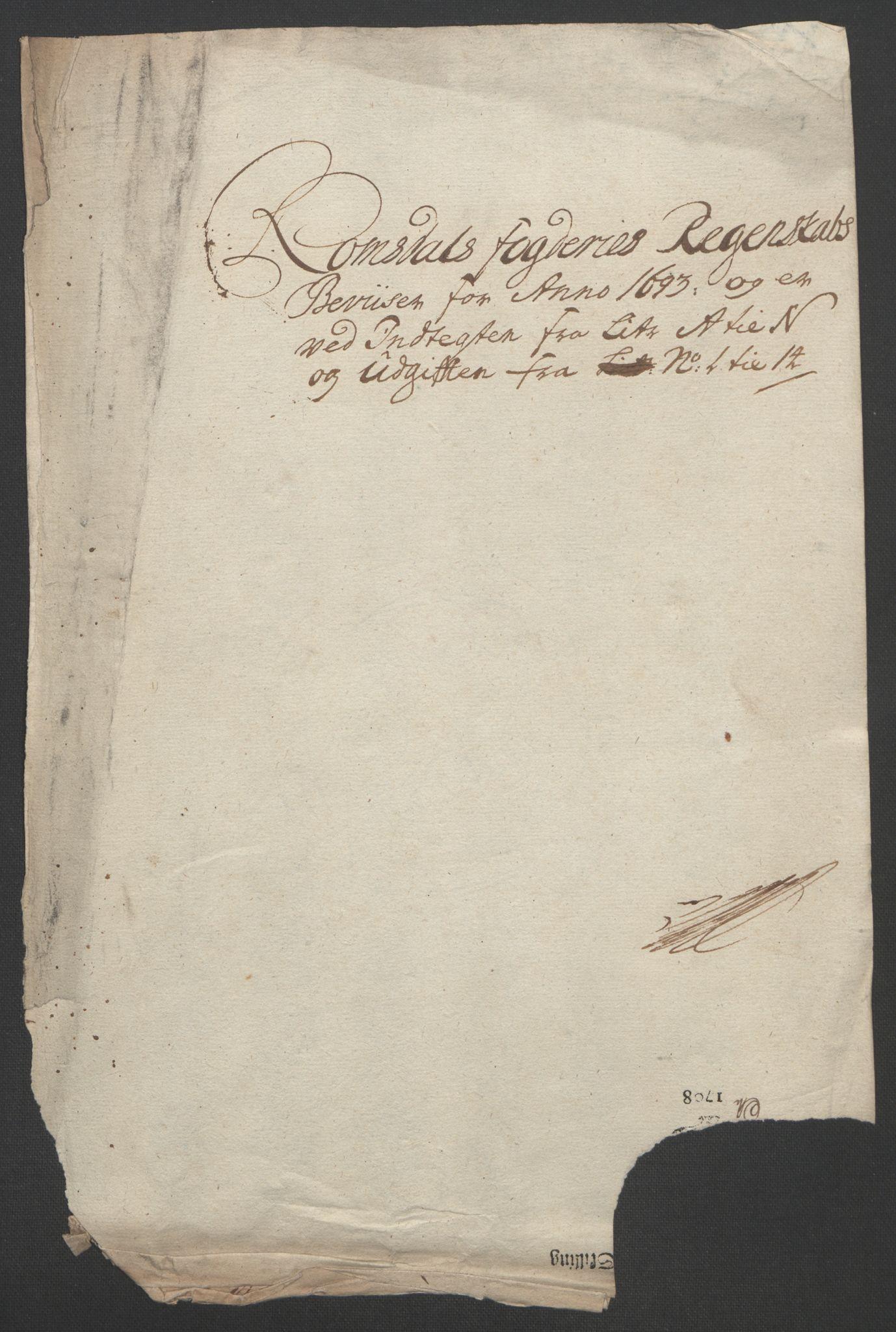 RA, Rentekammeret inntil 1814, Reviderte regnskaper, Fogderegnskap, R55/L3651: Fogderegnskap Romsdal, 1693-1694, s. 130
