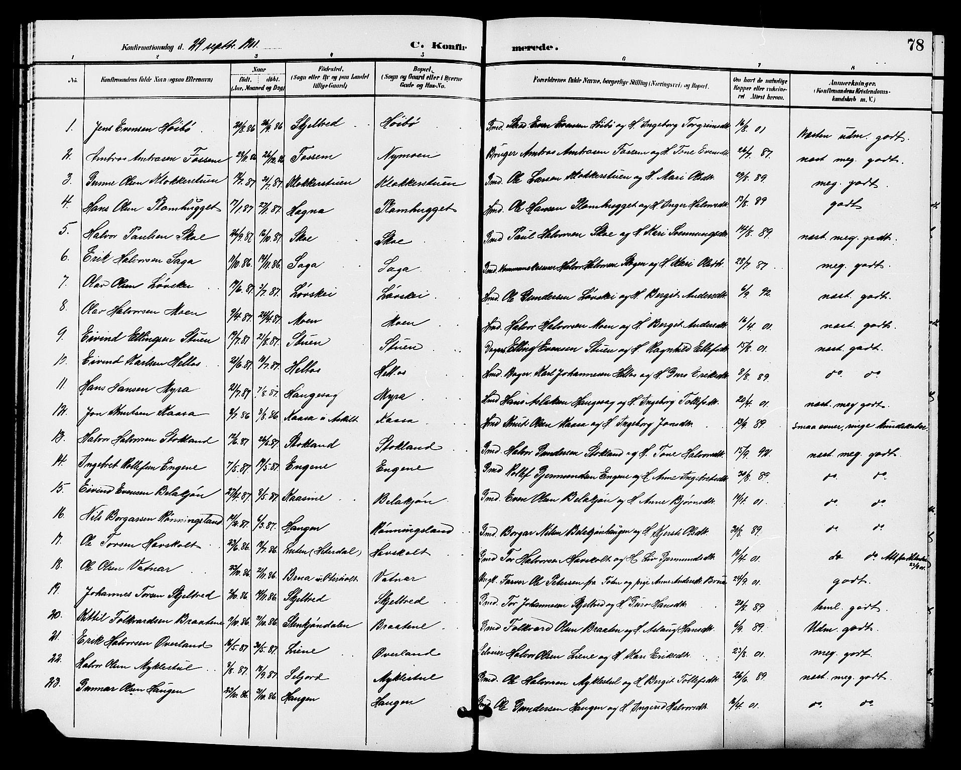SAKO, Bø kirkebøker, G/Ga/L0006: Klokkerbok nr. 6, 1898-1909, s. 78