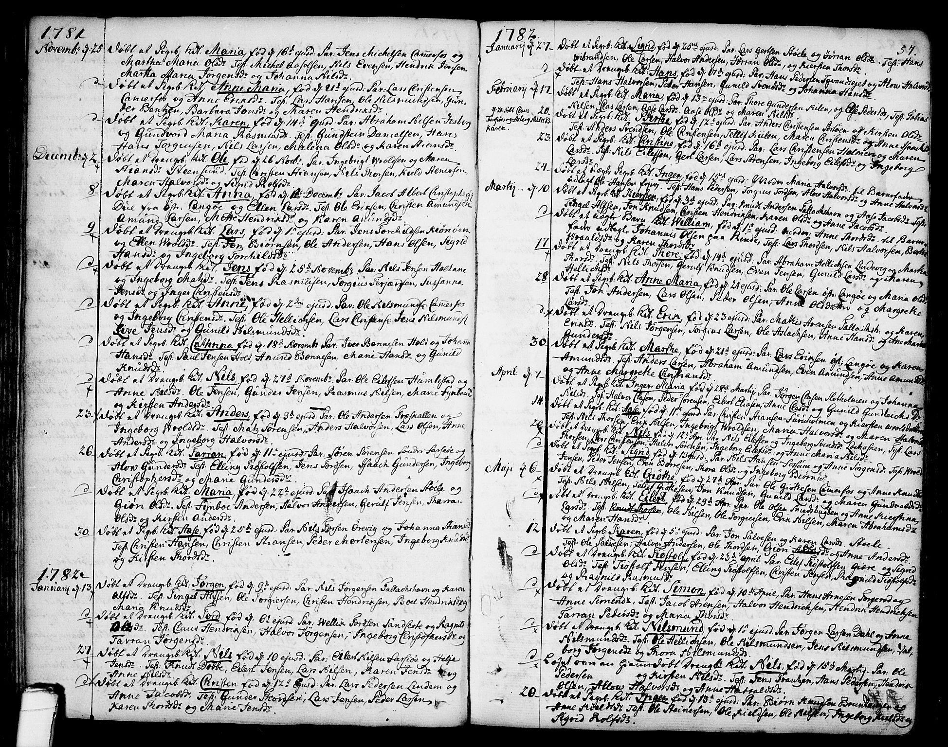 SAKO, Sannidal kirkebøker, F/Fa/L0002: Ministerialbok nr. 2, 1767-1802, s. 57