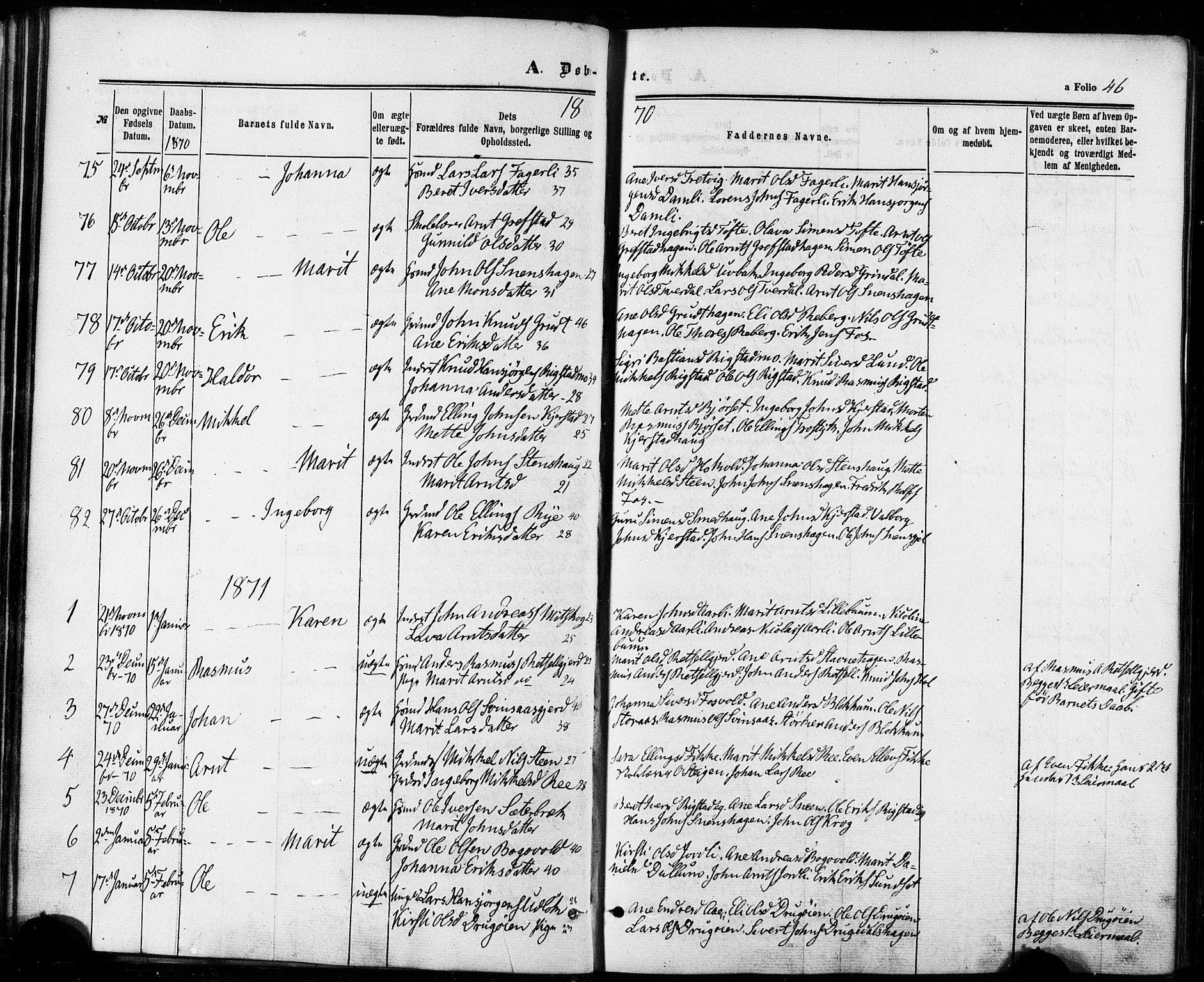 SAT, Ministerialprotokoller, klokkerbøker og fødselsregistre - Sør-Trøndelag, 672/L0856: Ministerialbok nr. 672A08, 1861-1881, s. 46