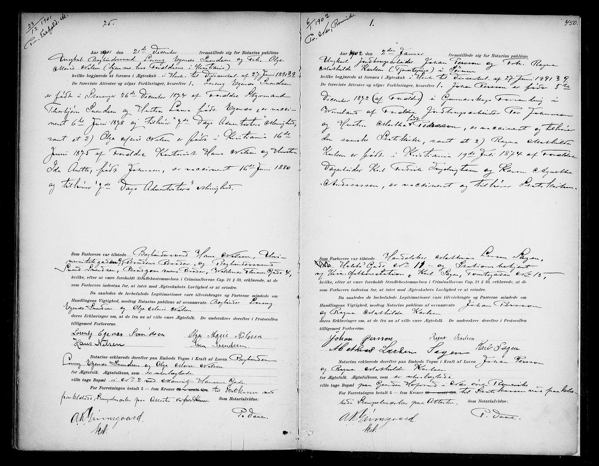 SAO, Oslo byfogd avd. I, L/Lb/Lbb/L0005: Notarialprotokoll, rekke II: Vigsler, 1897-1902, s. 449b-450a