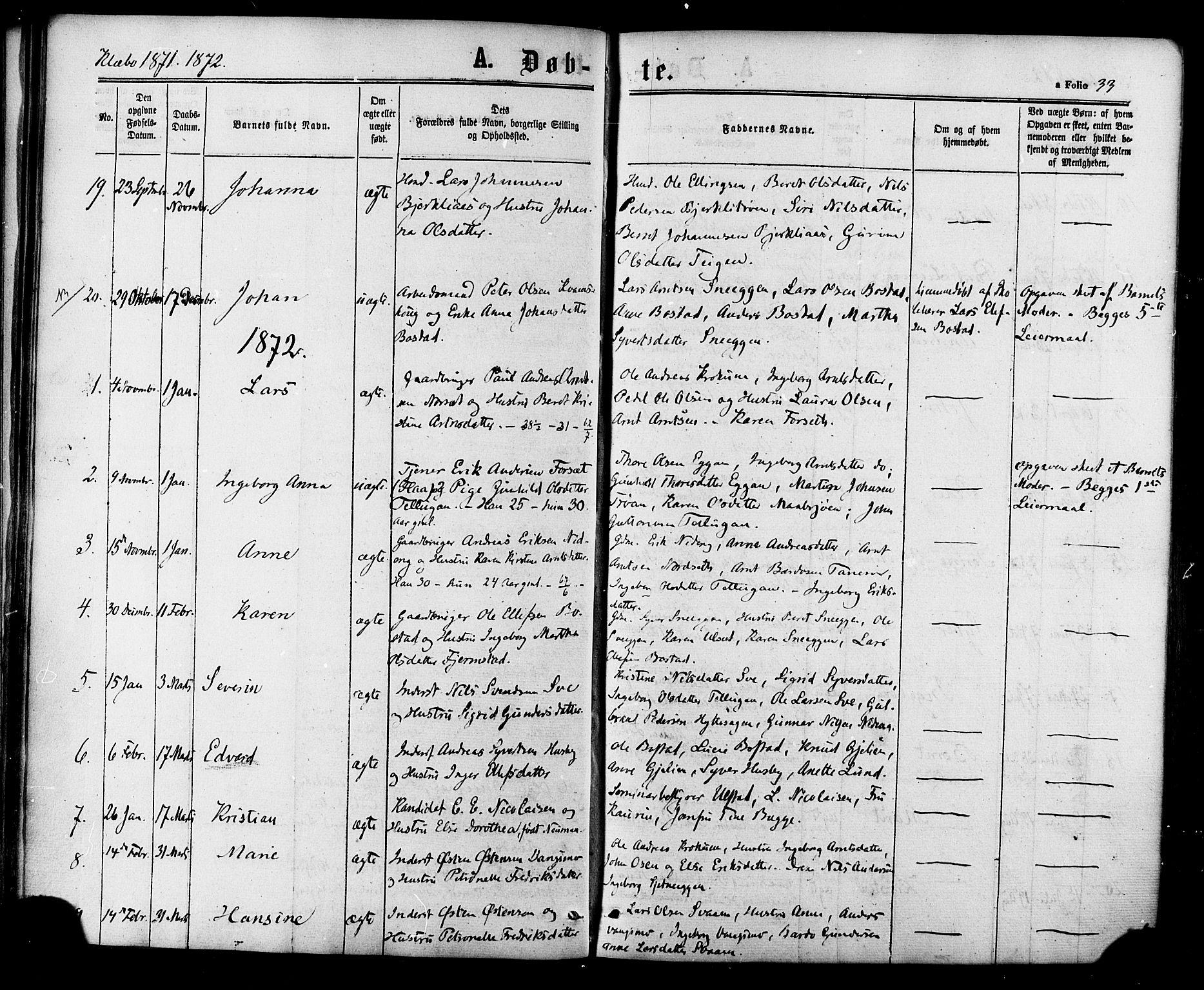SAT, Ministerialprotokoller, klokkerbøker og fødselsregistre - Sør-Trøndelag, 618/L0442: Ministerialbok nr. 618A06 /1, 1863-1879, s. 33