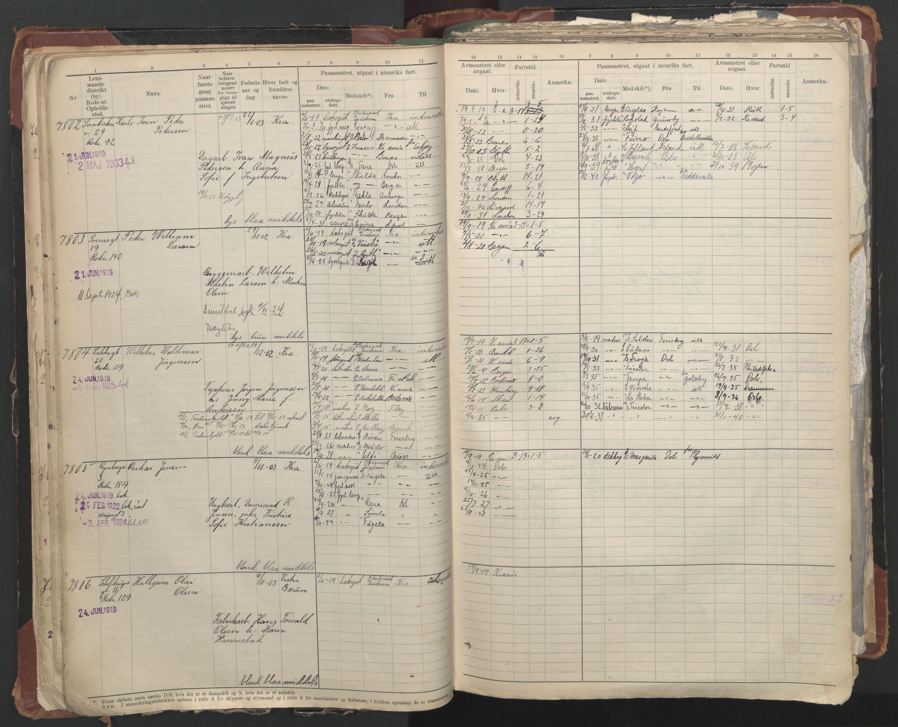 SAO, Oslo sjømannskontor, F/Fc/L0006: Hovedrulle, 1918-1930, s. 49