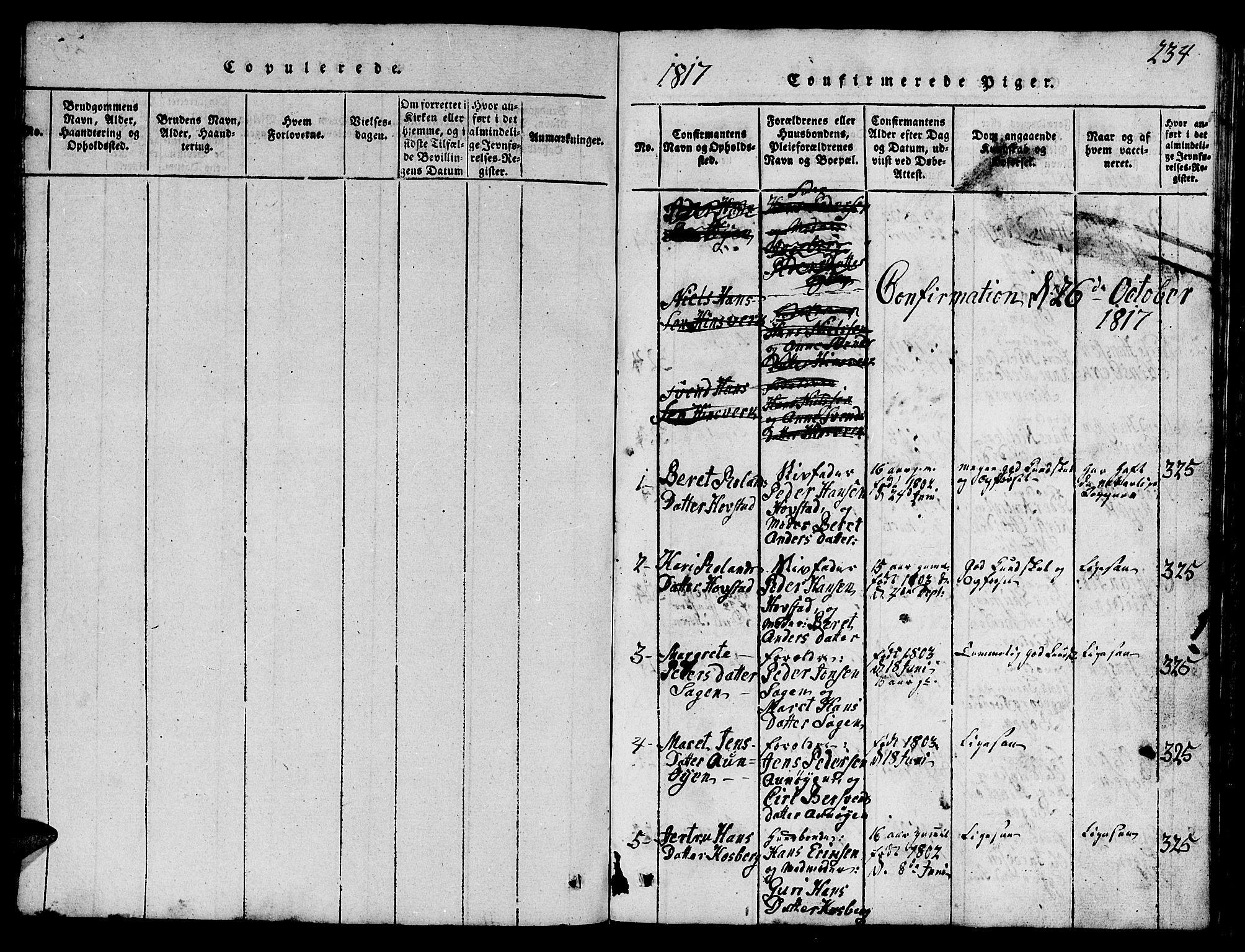 SAT, Ministerialprotokoller, klokkerbøker og fødselsregistre - Sør-Trøndelag, 688/L1026: Klokkerbok nr. 688C01, 1817-1860, s. 234