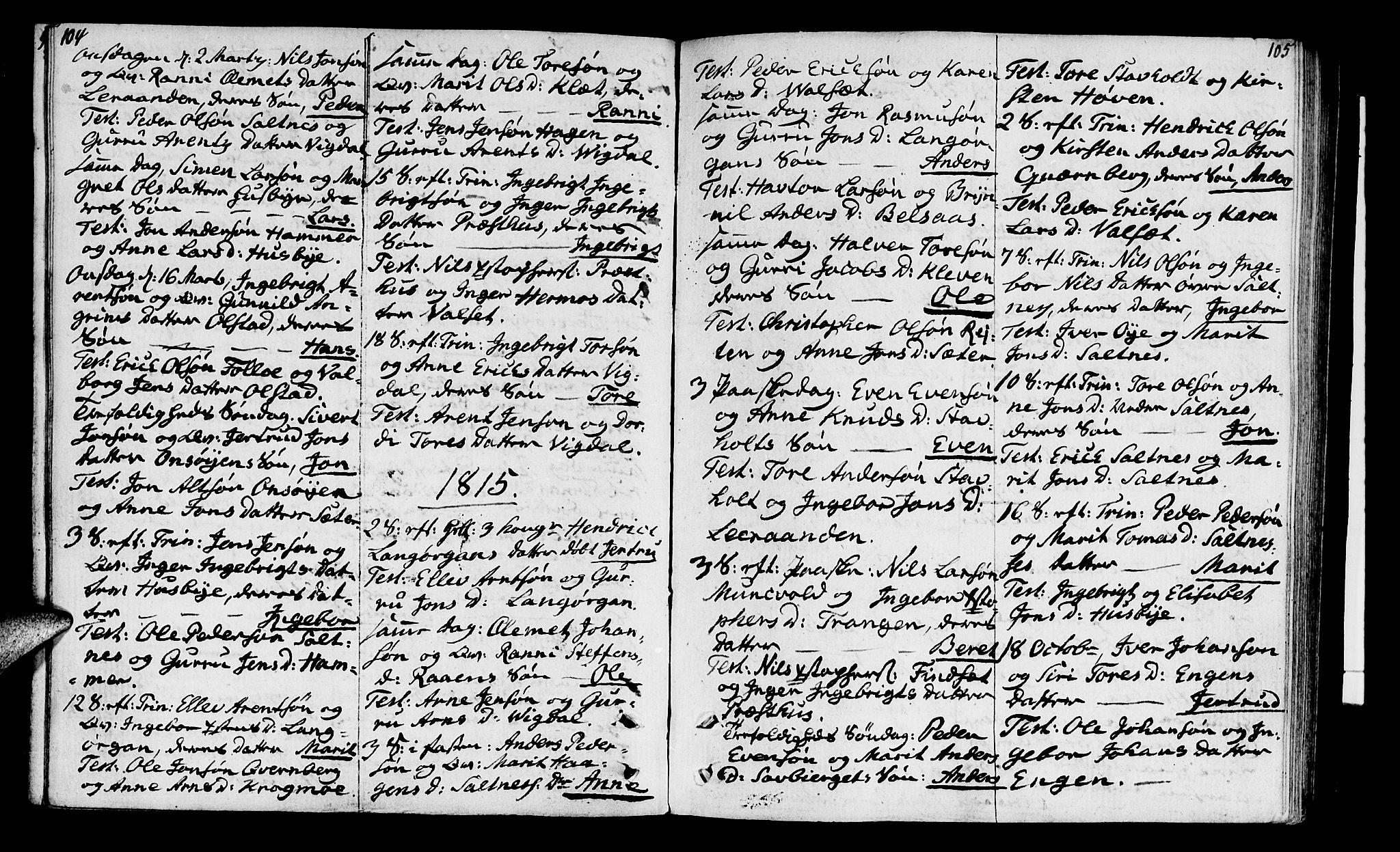 SAT, Ministerialprotokoller, klokkerbøker og fødselsregistre - Sør-Trøndelag, 666/L0785: Ministerialbok nr. 666A03, 1803-1816, s. 104-105