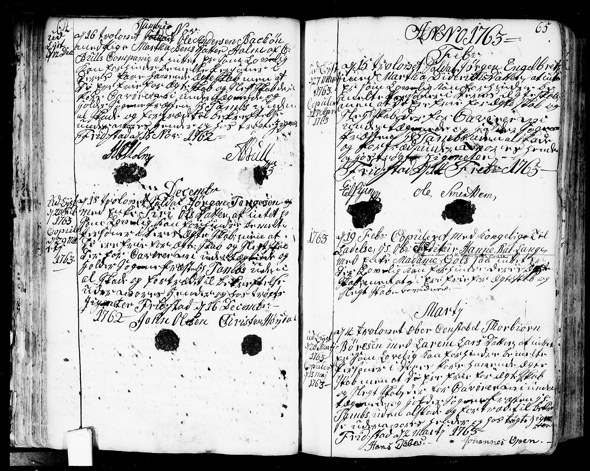 SAO, Fredrikstad prestekontor Kirkebøker, F/Fa/L0002: Ministerialbok nr. 2, 1750-1804, s. 64-65