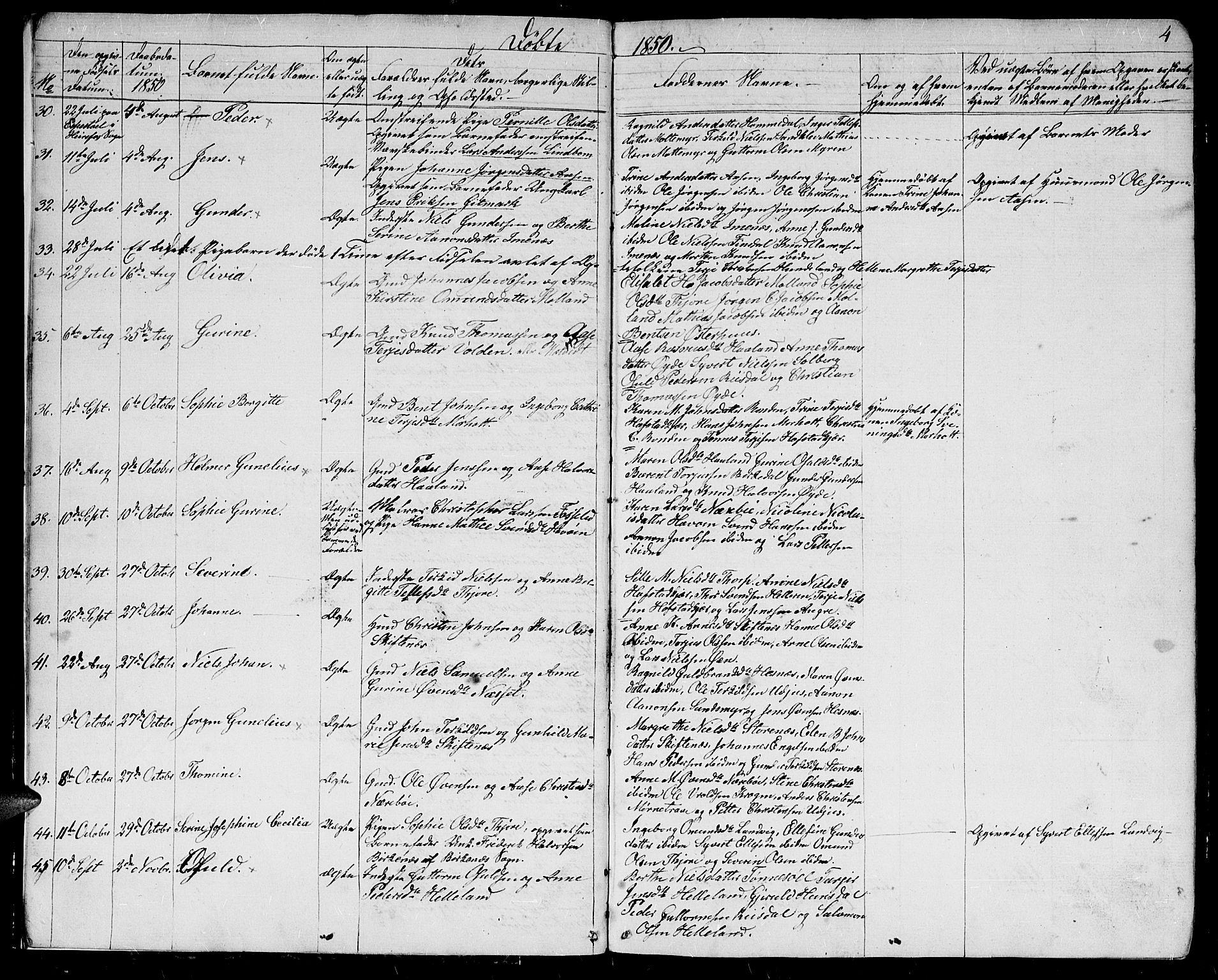 SAK, Hommedal sokneprestkontor, F/Fb/Fbb/L0005: Klokkerbok nr. B 5, 1850-1869, s. 4